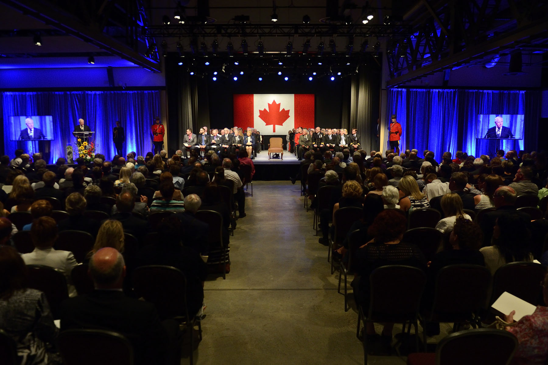 In the afternoon, the Governor General presented honours during a ceremony at the Canadian Museum of Immigration at Pier 21. More than 70 recipients from across the Atlantic provinces were recognized for their excellence, courage or exceptional dedication to service with one of the following honours: a Decoration for Bravery, a Meritorious Service Decoration or the Sovereign's Medal for Volunteers.