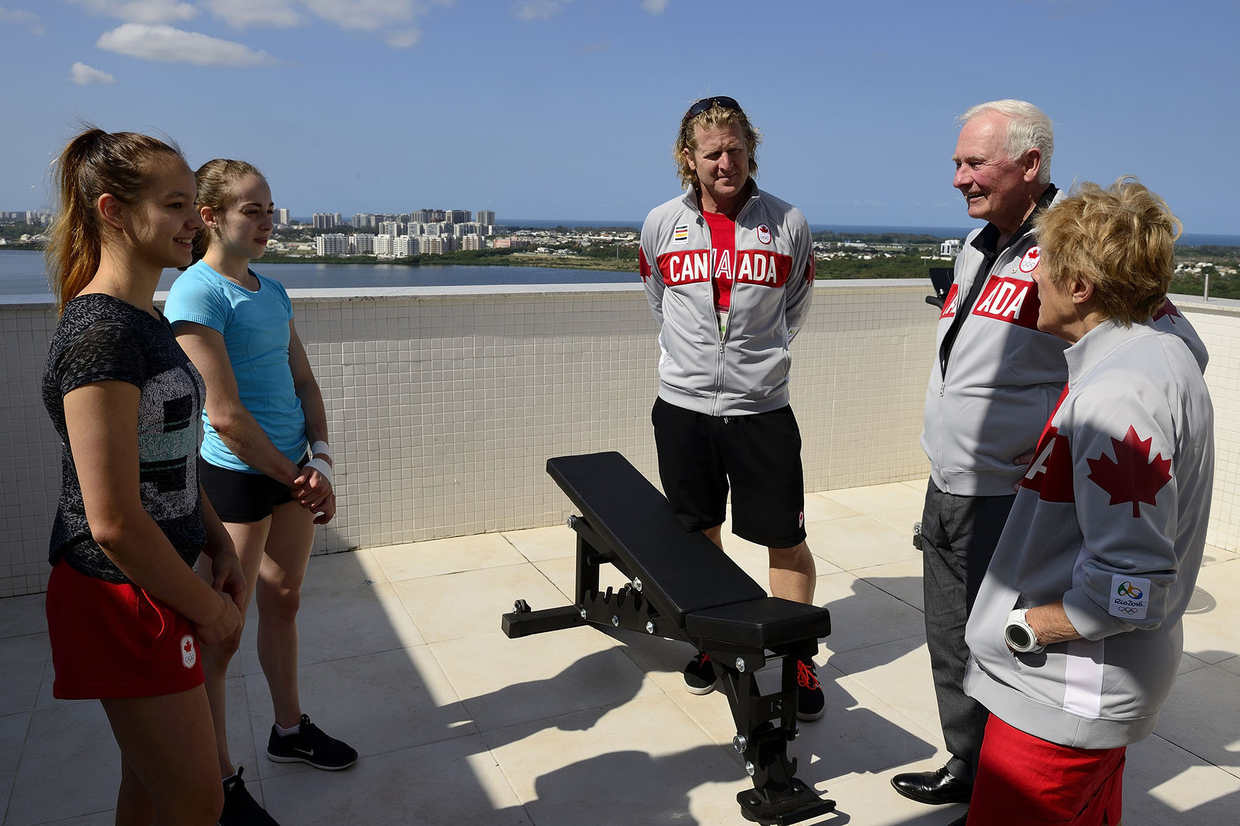 Their Excellencies met with the Canada's youngest female athlete, artistic gymnast Shallon Olsen (wearing black t-shirt).