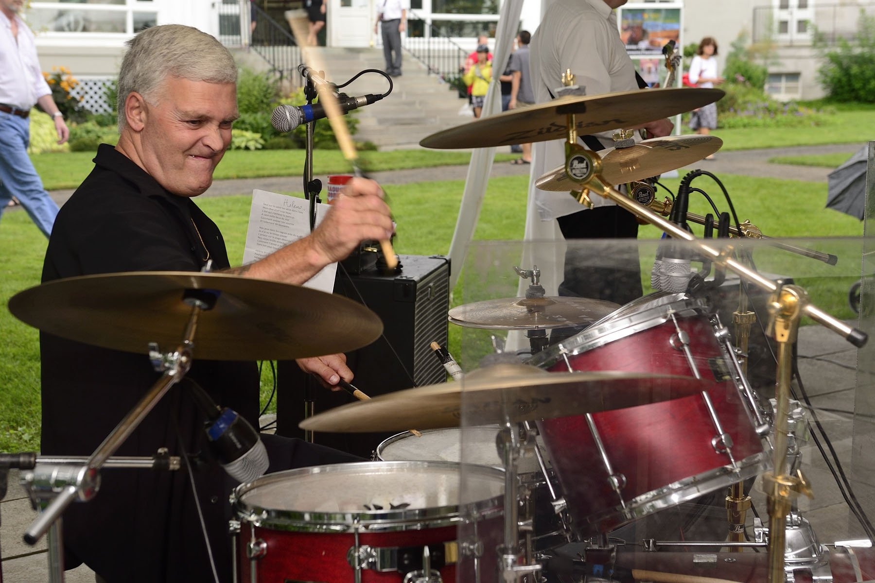 Mr. Pierre Lemire, a Commissionaire at Rideau Hall, played the drums and sang with his band.