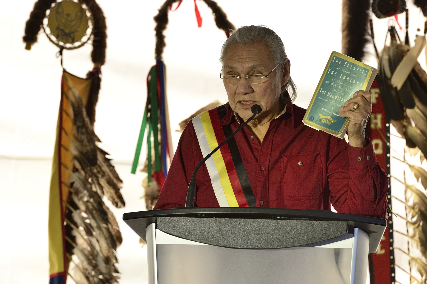 The Treaty No. 4 Protocol Ceremony takes place every year in the Qu'Appelle Valley, at Fort Qu'Appelle, during the second week of September. It is a celebration to recognize, discuss and evaluate Treaty No. 4, which was signed at Fort Qu'Appelle on September 15, 1874, by Queen Victoria and the Cree and Saulteaux First Nation band governments.