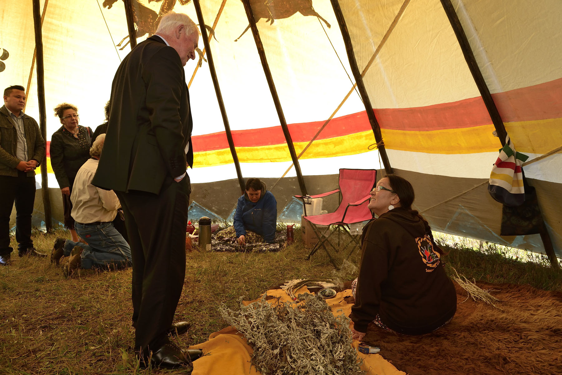 Following the ceremony, the Governor General did a walking tour of exhibits featuring First Nations' traditions and educational activities on Treaty No. 4 grounds.