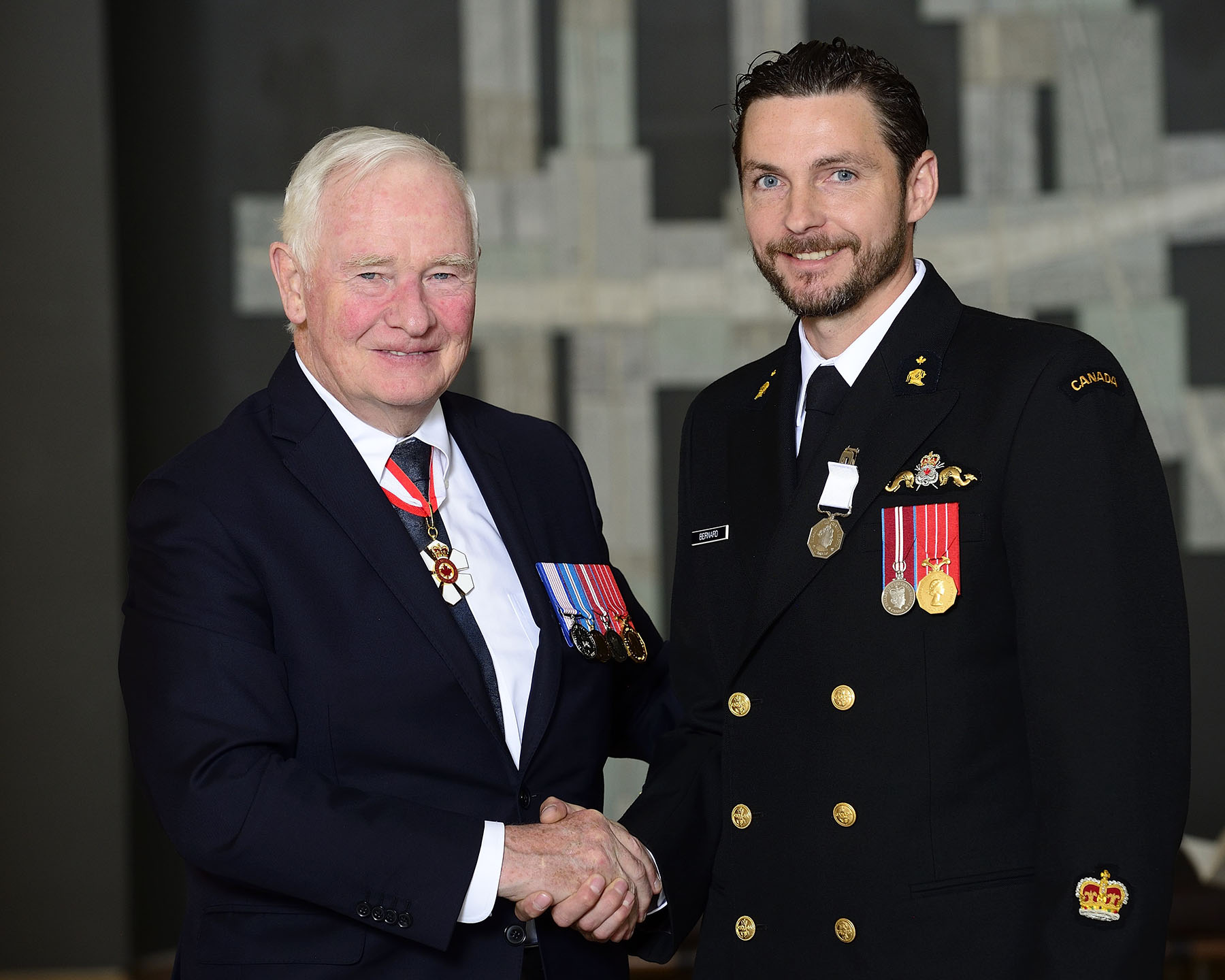 Petty Officer 1st Class Yves Bernard received the Polar Medal for making significant contributions to the discovery of the wreck of Sir John Franklin's HMS Erebus in 2014. He was among the first divers and the very first navy sailor to dive down to the site since Franklin's crew disembarked the Erebus 165 years earlier.