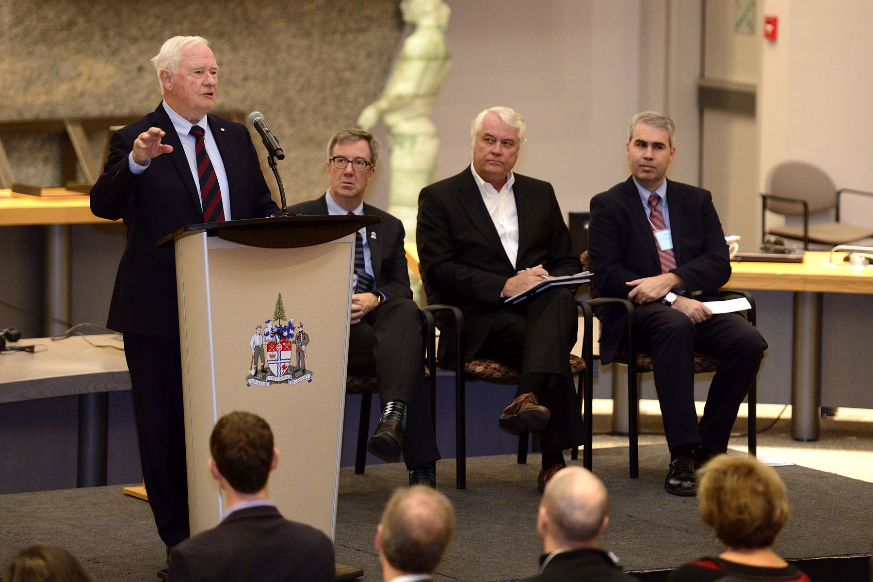 His Excellency the Right Honourable David Johnston, Governor General of Canada, delivered a keynote address at the City of Ottawa's Education and the Economy Summit, on October 21, 2016, at  Andrew S. Haydon Hall, City Hall, Ottawa.