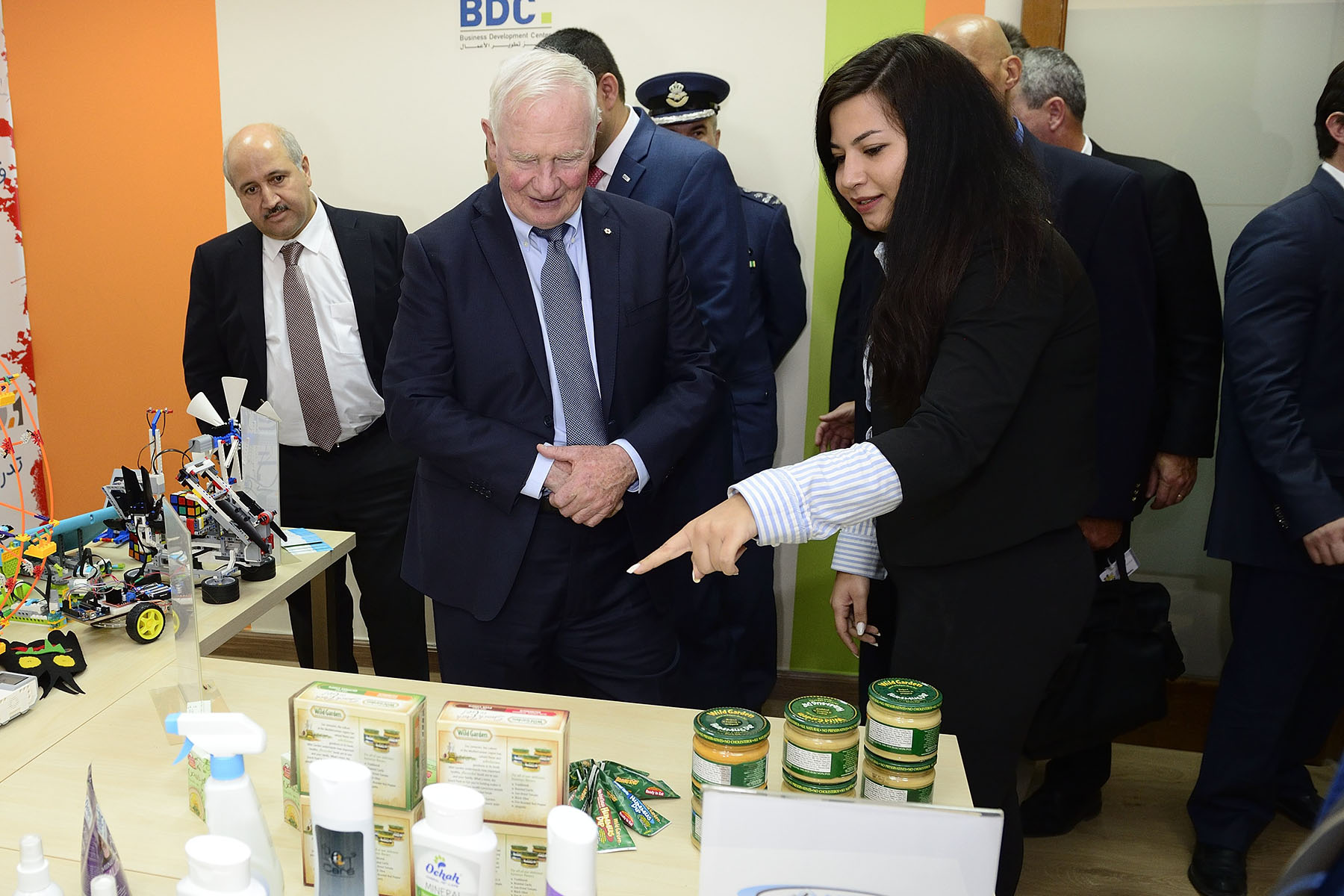 The Governor General and members of the Canadian delegation visited Amman's Business Development Centre (BDC).