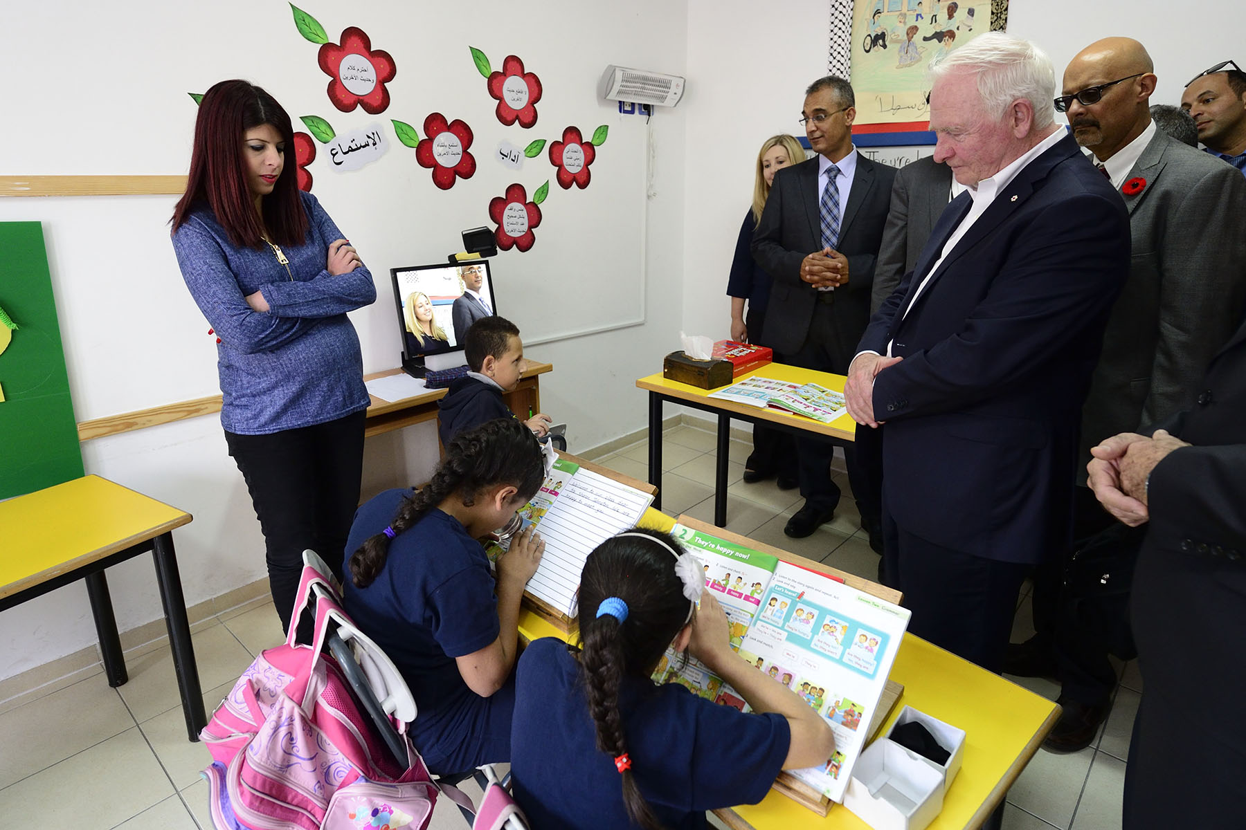 Their Excellencies then visited the Al-Shurooq School for Blind Children to meet with officials, teachers and students to learn more about its services.