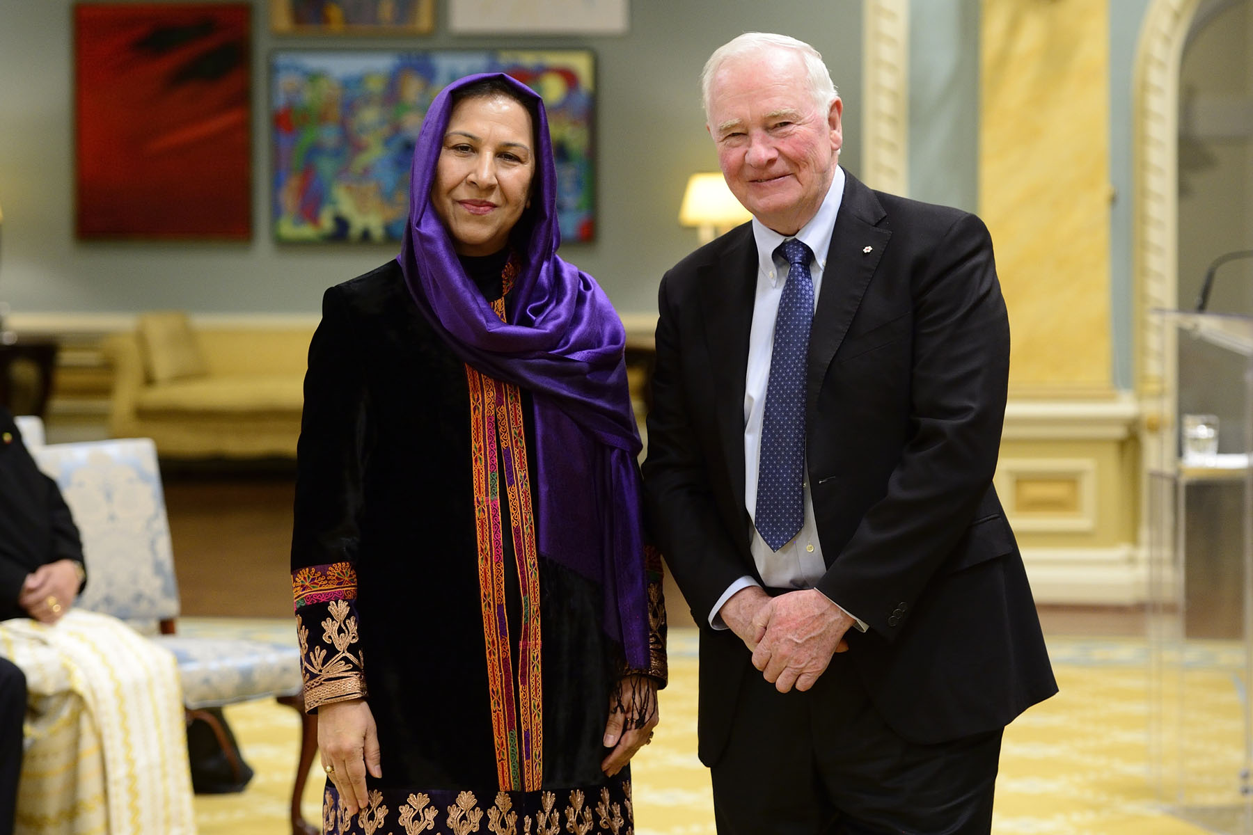 Her Excellency Shinkai Karokhail, Ambassador of the Islamic Republic of Afghanistan was the last to present her letters of credence.