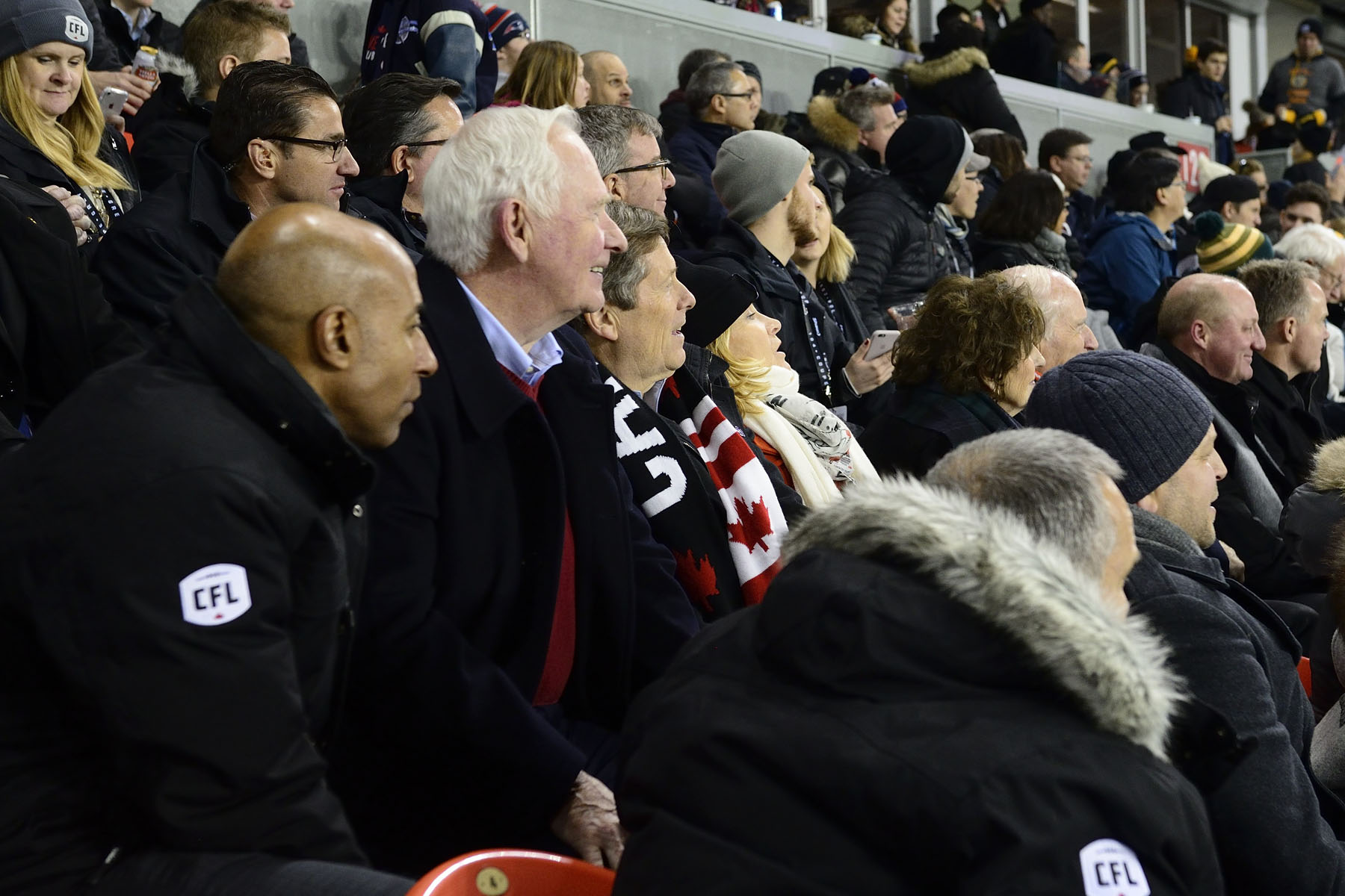 The Governor General, joined by CFL Commissioner Jeffrey Orridge (left), cheered on both teams.