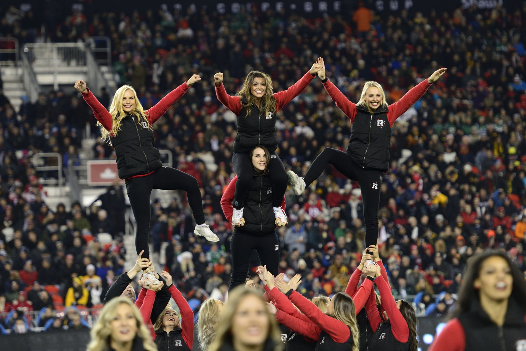 Ottawa REDBLACKS cheerleaders celebrated their team's win.