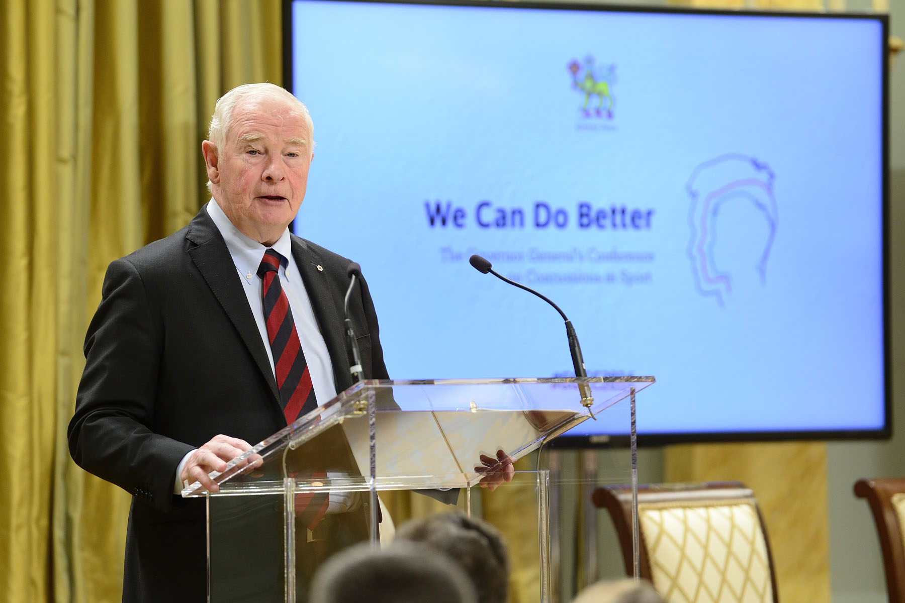 "His Excellency the Right Honourable David Johnston, Governor General of Canada, hosted ""We Can Do Better: Governor General's Conference on Concussions in Sport,"" at Rideau Hall on December 6, 2016: ""At its core, this conference is about living up to one of our most significant responsibilities: to ensure all Canadians—especially young people—can play sports safely and confidently, without hesitation or anxiety."""