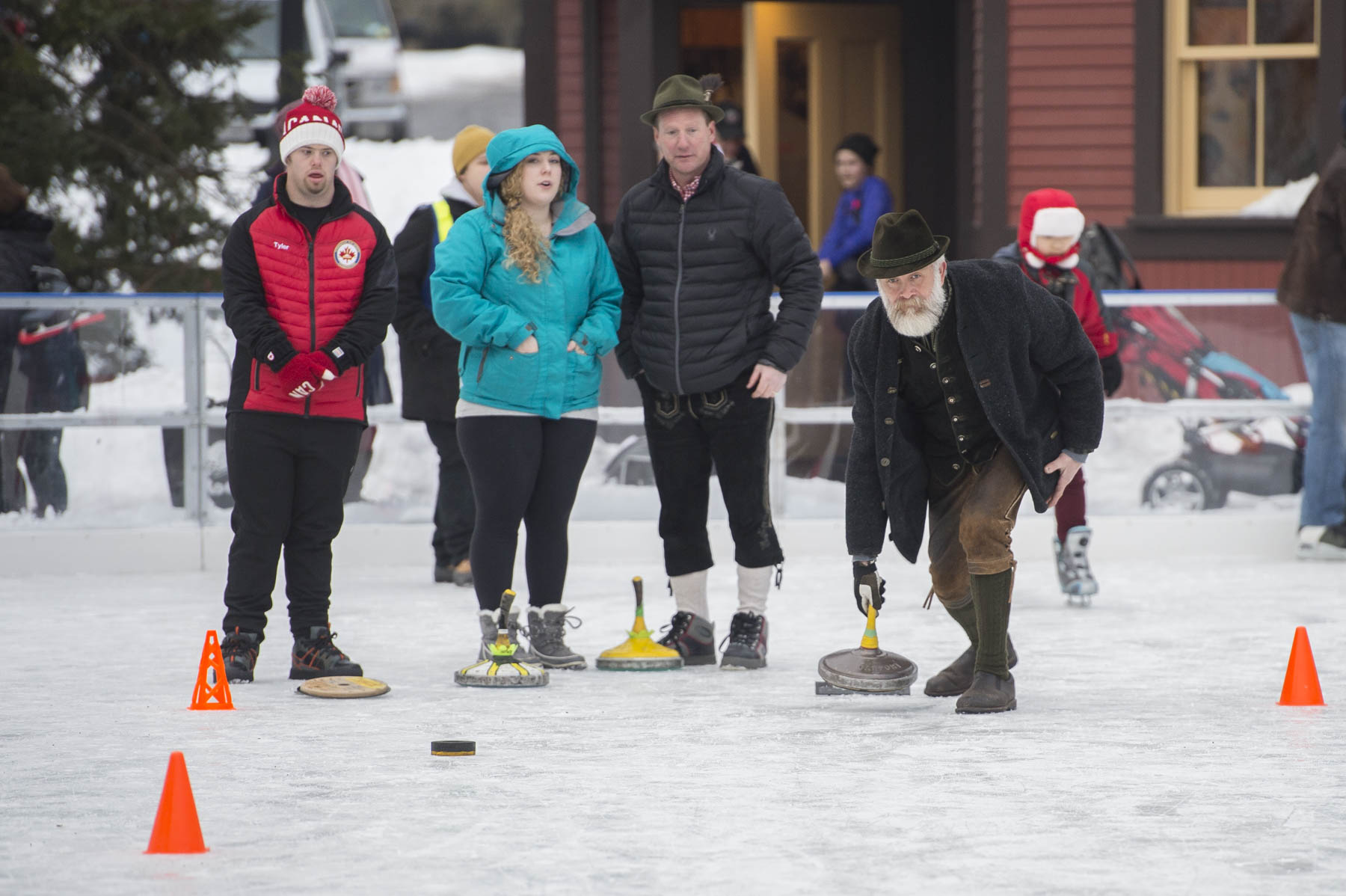 Volunteers and athletes demonstrated the ins and outs of curling, an historic sport beloved by Canadians.