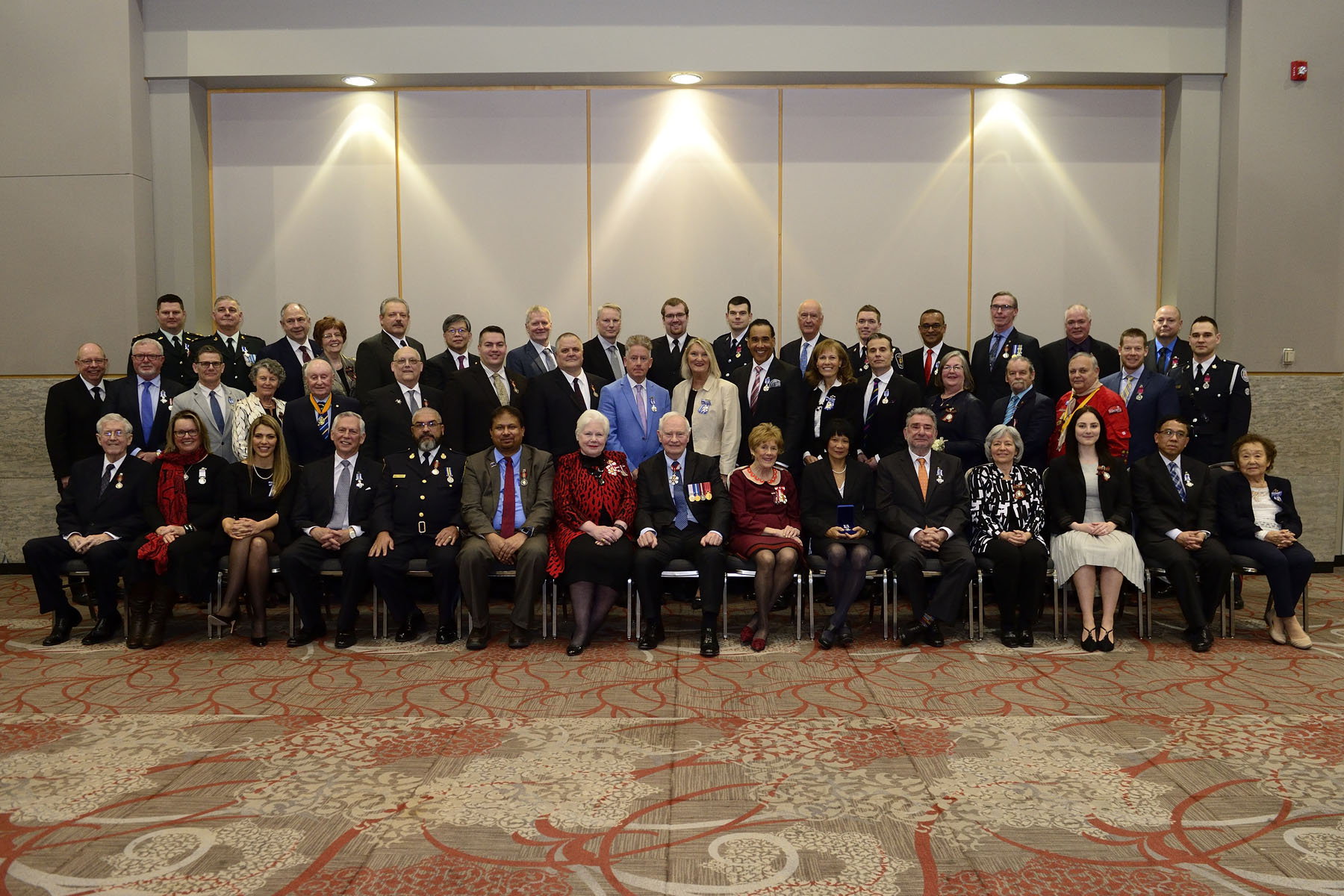 Group photo taken after the ceremony with Their Excellencies, the Lieutenant Governor of Ontario and the 46 recipients.