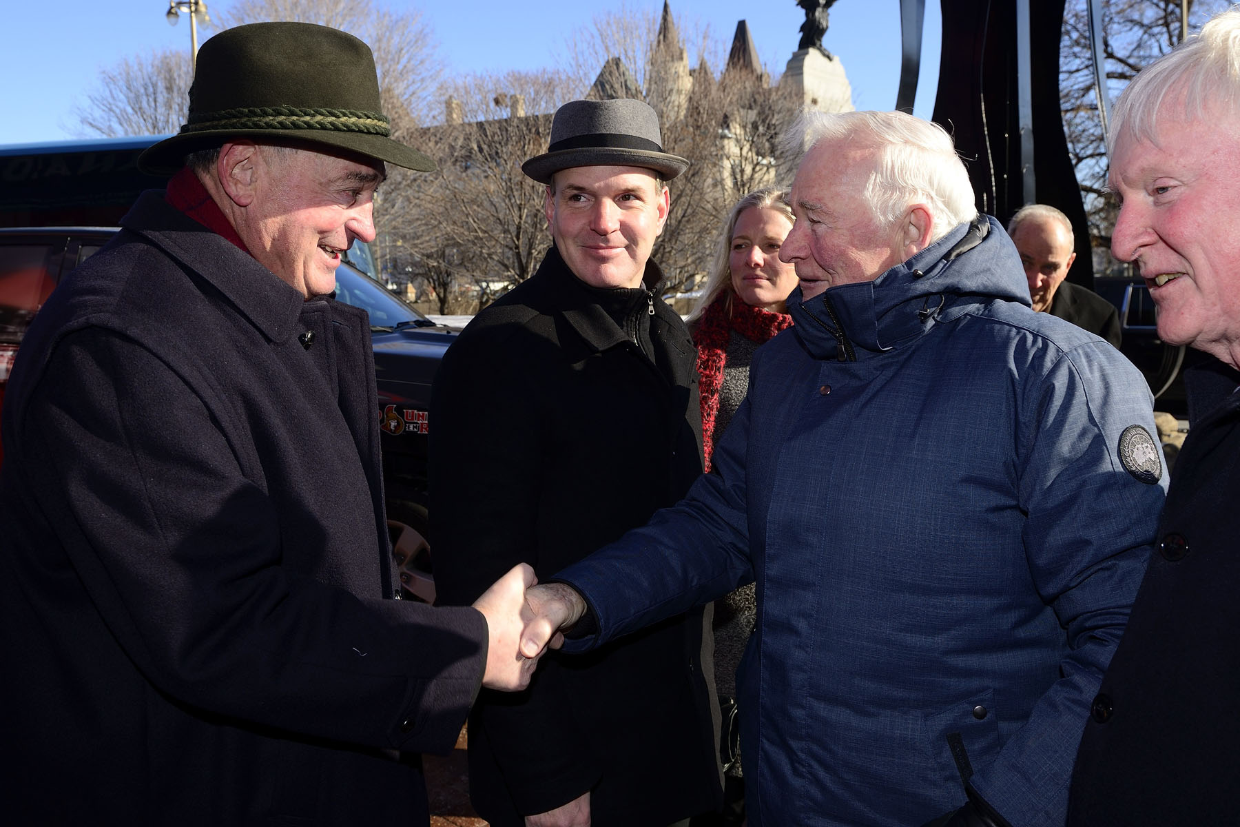 As patron of  the Lord Stanley's Gift Monument, His Excellency the Right Honourable David Johnston, Governor General of Canada, attended the monument's groundbreaking ceremony at the corner of Elgin and Sparks streets, in Ottawa, on March 18, 2017. Upon arrival, he was greeted by NHL almuni Frank Maholvich and representatives from the Lord Stanley Memorial Monument Inc.
