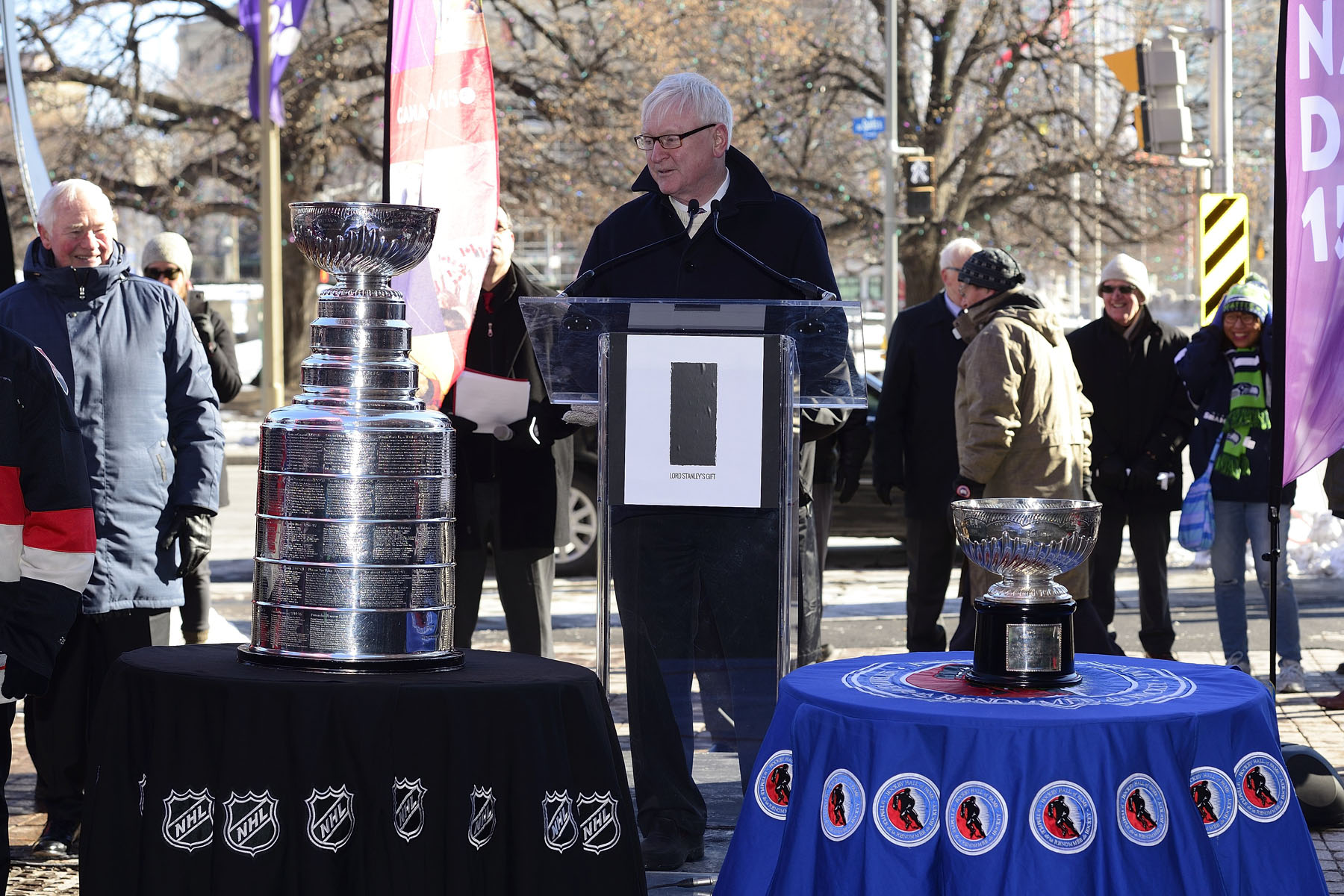Mr. George Hunter, President of the Lord Stanley Memorial Monument Inc. (LSMMI), also said a few words. LSMMI is a Canadian non-profit charitable organization established by a group of private citizens with the objective of creating a monument to celebrate Lord Stanley's gift to the sport of ice hockey: the Stanley Cup.