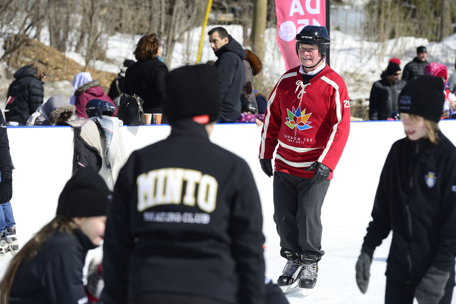 Governor General David Johnston was happy to skate with his guests.