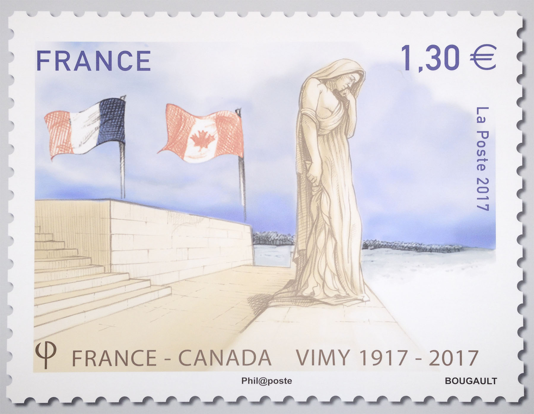 The French stamp was created by French artist Sarah Bougault to honour the bond that the battle on French soil forged between the two nations.