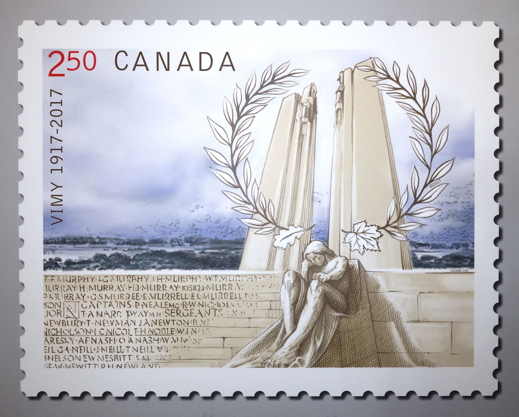 The Canadian stamp was designed by Susan Scott of Montréal and features the two towering pylons of Walter Allward's Vimy monument, which represent France and Canada. The sheer scale of the monument reflects Canada's important contribution to Allied victory in the First World War. In the foreground of the stamp is a figure of a grieving man, one of the monument's statues, symbolizing loss and grief. The ridge behind the monument on the stamp recalls the site of the battle itself.