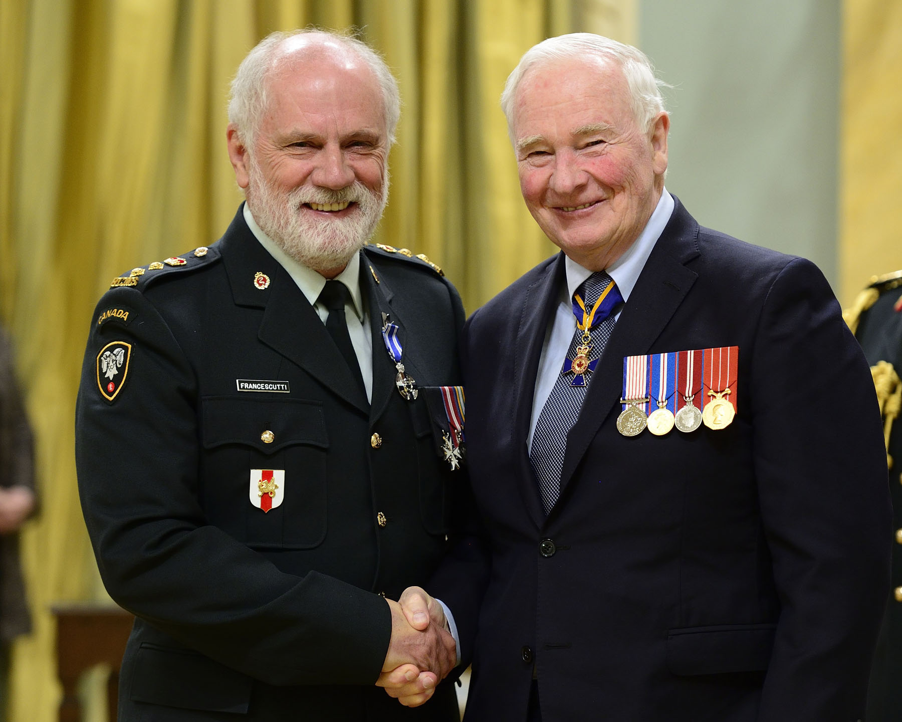 Appointed honorary colonel of 1 Field Ambulance in 2011, Dr. Louis Hugo Francescutti, M.S.M. has greatly supported his unit and the Canadian Armed Forces. During two influential appointments as president of the Royal College of Physicians and Surgeons of Canada (2011-2013) and president of the Canadian Medical Association (2013-2014), he promoted the Forces and solicited military input into national initiatives. Honorary Colonel Francescutti has significantly heightened the medical community's support of the CAF and their representation in activities under his purview.