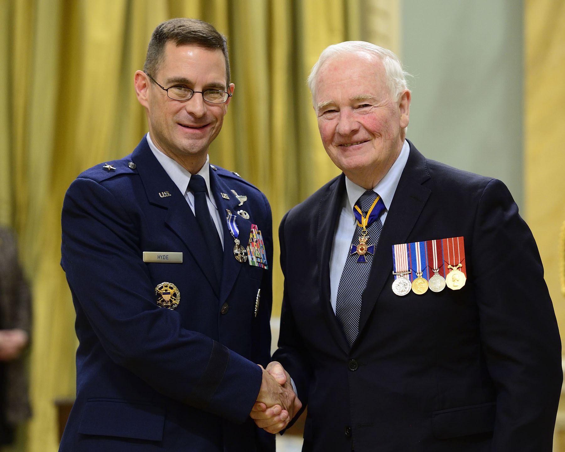 Brigadier-General Cahrles Kevin Hyde, M.S.M. (Ret'd) served as Deputy Combined/Joint Forces Air Component commander at 1 Canadian Air Division/Canadian NORAD Region Headquarters in Winnipeg, Manitoba. Between July 2013 and August 2015, he played a key role in NORAD and in the Canadian Armed Forces' domestic operations and international missions. Brigadier-General Hyde's vast experience and exemplary performance have further enhanced Canada's role in NORAD and in the ongoing pursuit of our North American security goals.