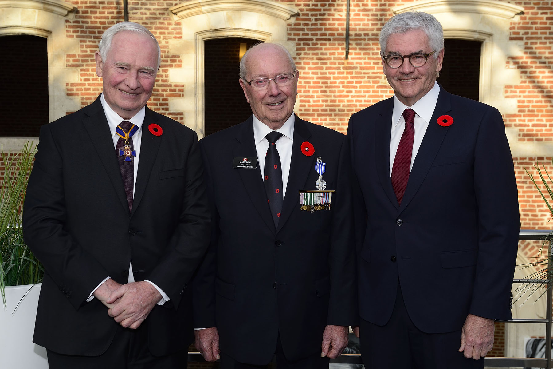 His Excellency presented a Meritorious Service Medal (Civil Division) to Michel Le Baron (centre) during a private ceremony in Lille, France. They were accompanied by Lawrence Cannon, Canadian Ambassador to France (right).