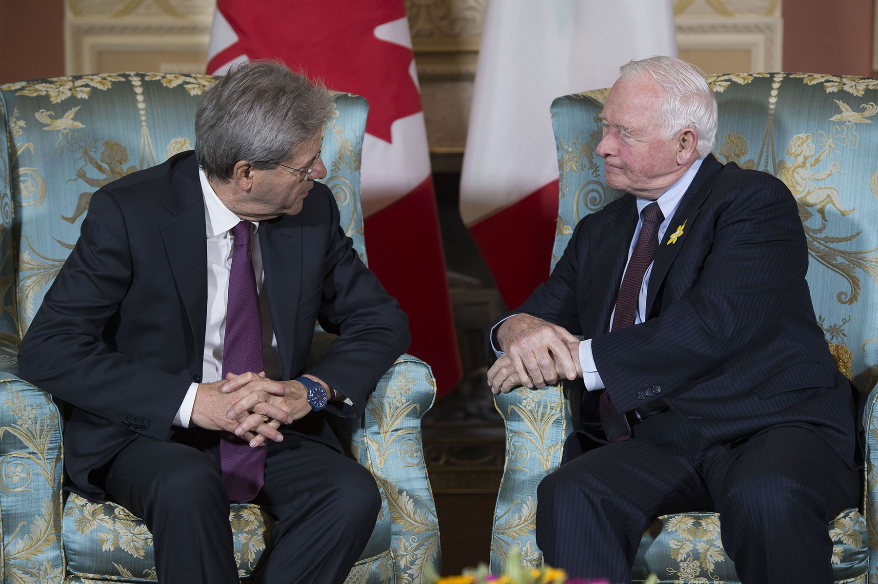His Excellency the Right Honourable David Johnston, Governor General of Canada, met with His Excellency Paolo Gentiloni, Prime Minister of the Italian Republic, at Rideau Hall.