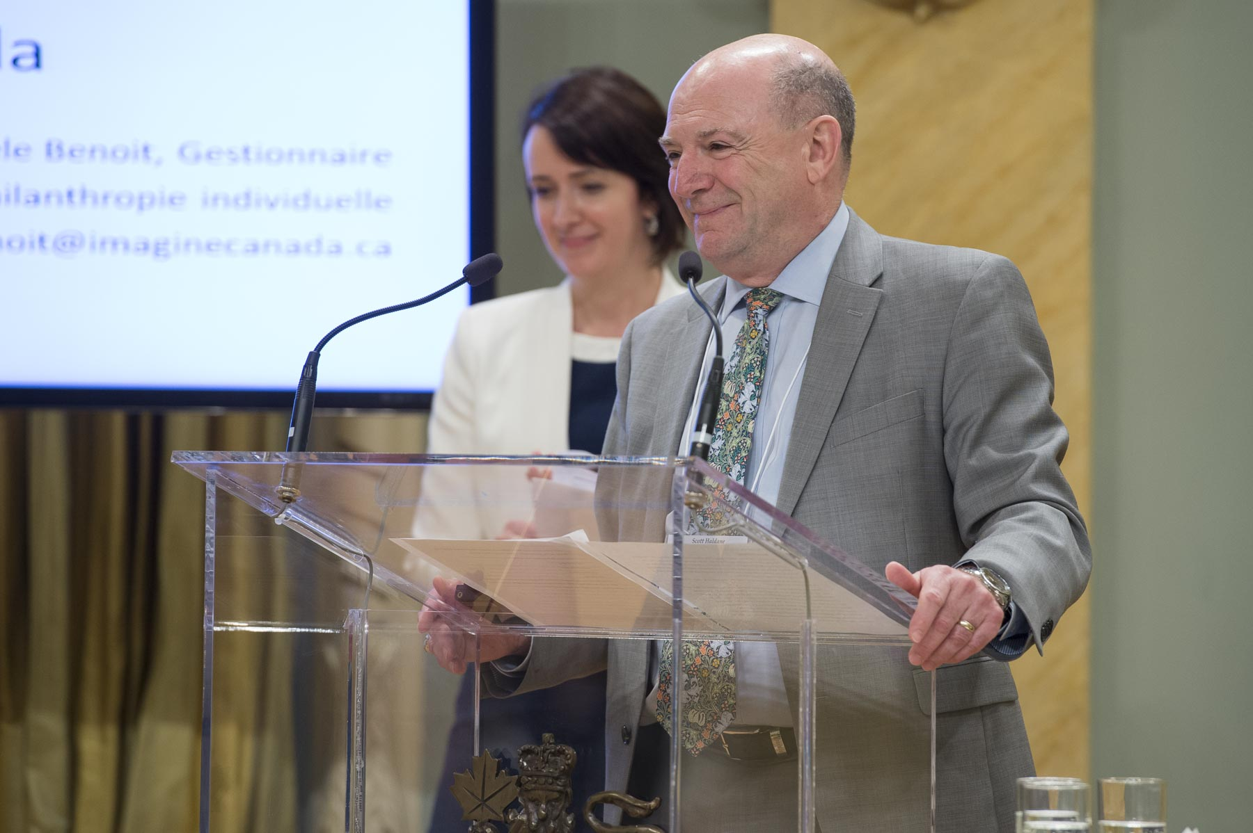 Scott Haldane, President and CEO, and Teresa Marques, Director of Strategic Partnerships at the Rideau Hall Foundation launched the Giving Behaviour Project, which is the continuity of the My Giving Moment campaign.