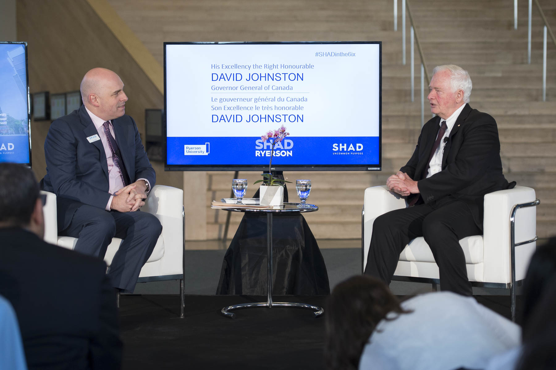 Later, the Governor General and Tim Jackson, President and CEO of SHAD, had a fireside chat on innovation with students attending the 2017 SHAD program at Ryerson University.