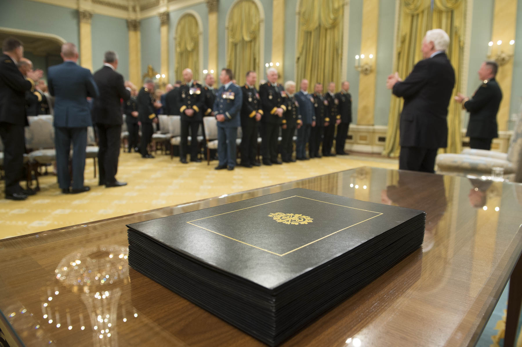The Governor General and Commander-in-Chief of Canada recognized the promotion of Canadian Armed Forces members during a presentation of scrolls held at Rideau Hall on May 29, 2017.