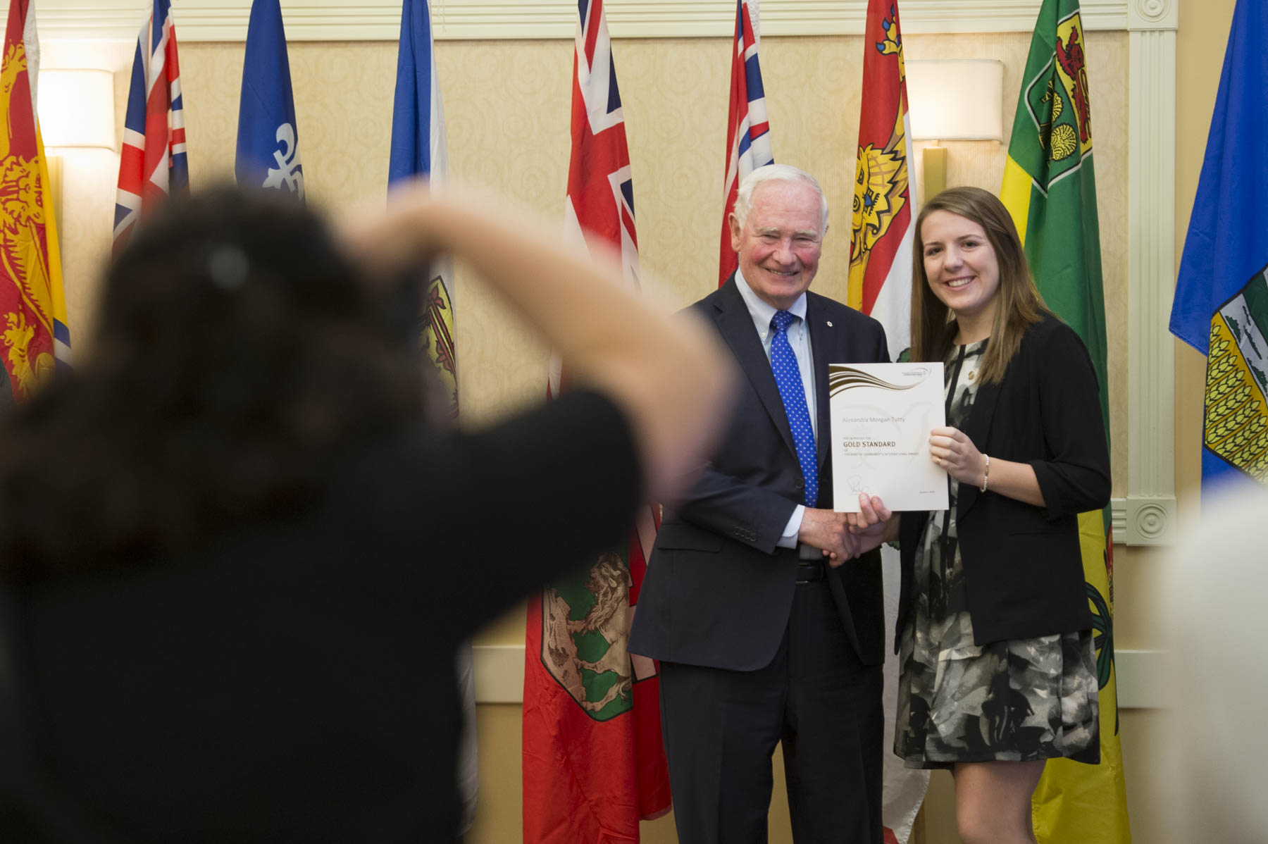 Upon his arrival in Moncton, the Governor General presented The Duke of Edinburgh's Gold Award to 31 young people from across Canada.