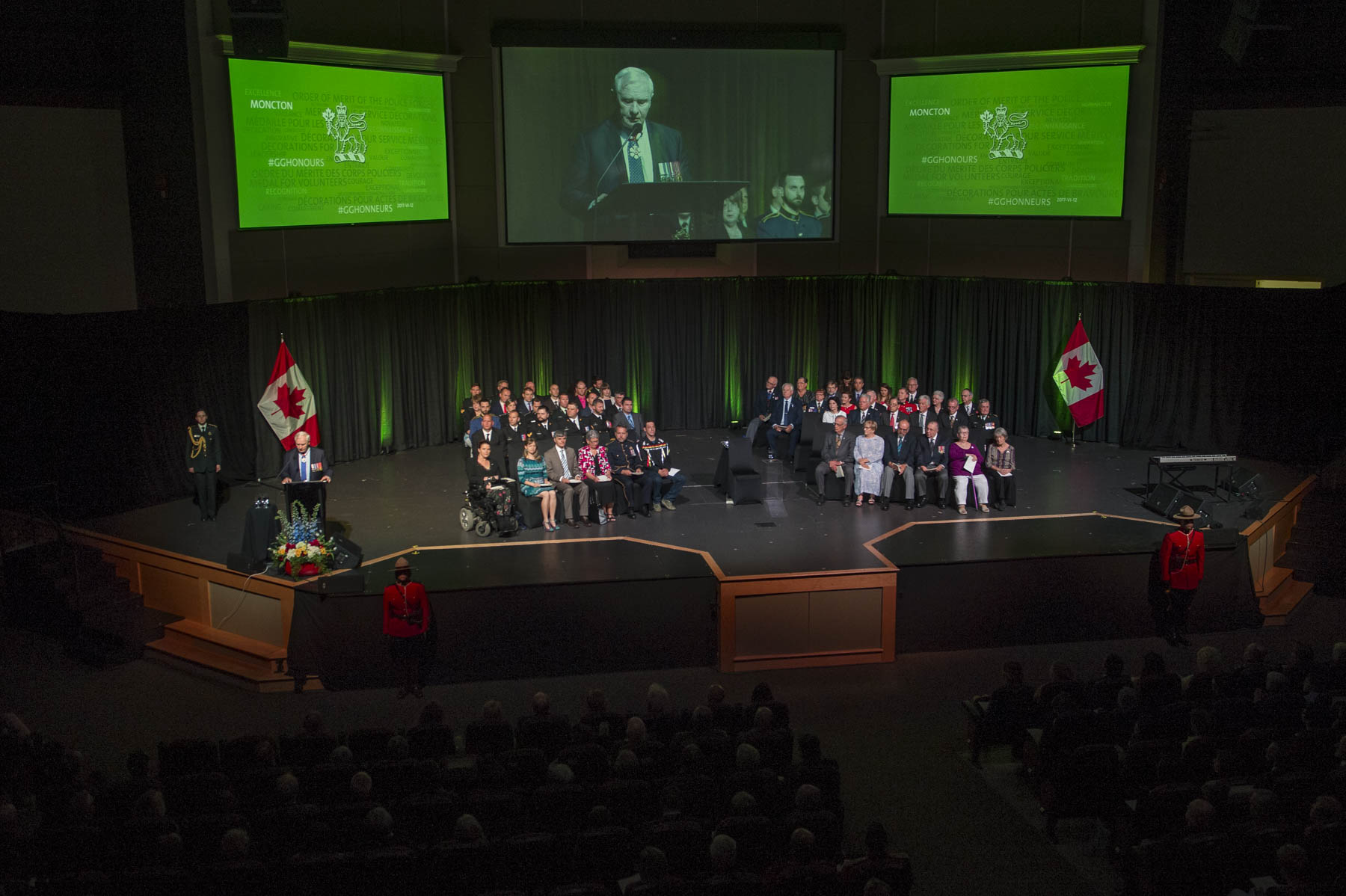 """Together, the honours we're presenting today celebrate a wide range of accomplishments, all with at least two things in common,"" said the Governor General. ""One, they recognize caring. And two, they recognize excellence. Those two attributes are shared by every one of the honours recipients in the room. You come from right across New Brunswick, Nova Scotia, Prince Edward Island, Newfoundland and Labrador, Quebec and Ontario, but despite the geographical distances that may separate your home communities, you all have these qualities in common."""