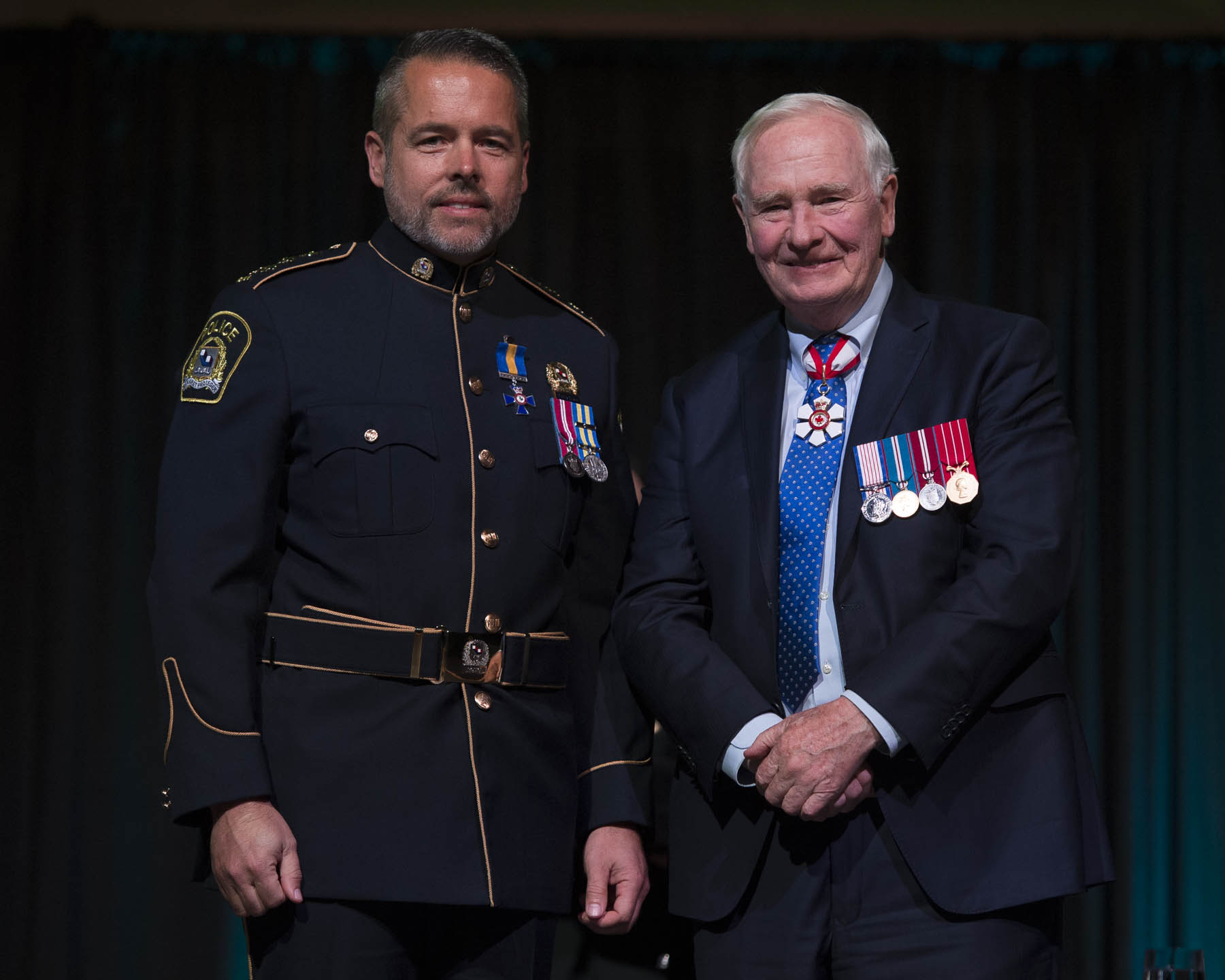 His Excellency presented the Order of Merit of the Police Forces to Director Pierre Brochet, M.O.M. For his leadership in enhancing operational procedures and crime prevention strategies for the Laval police service, and for his multi-faceted approach to supporting community initiatives throughout his province.