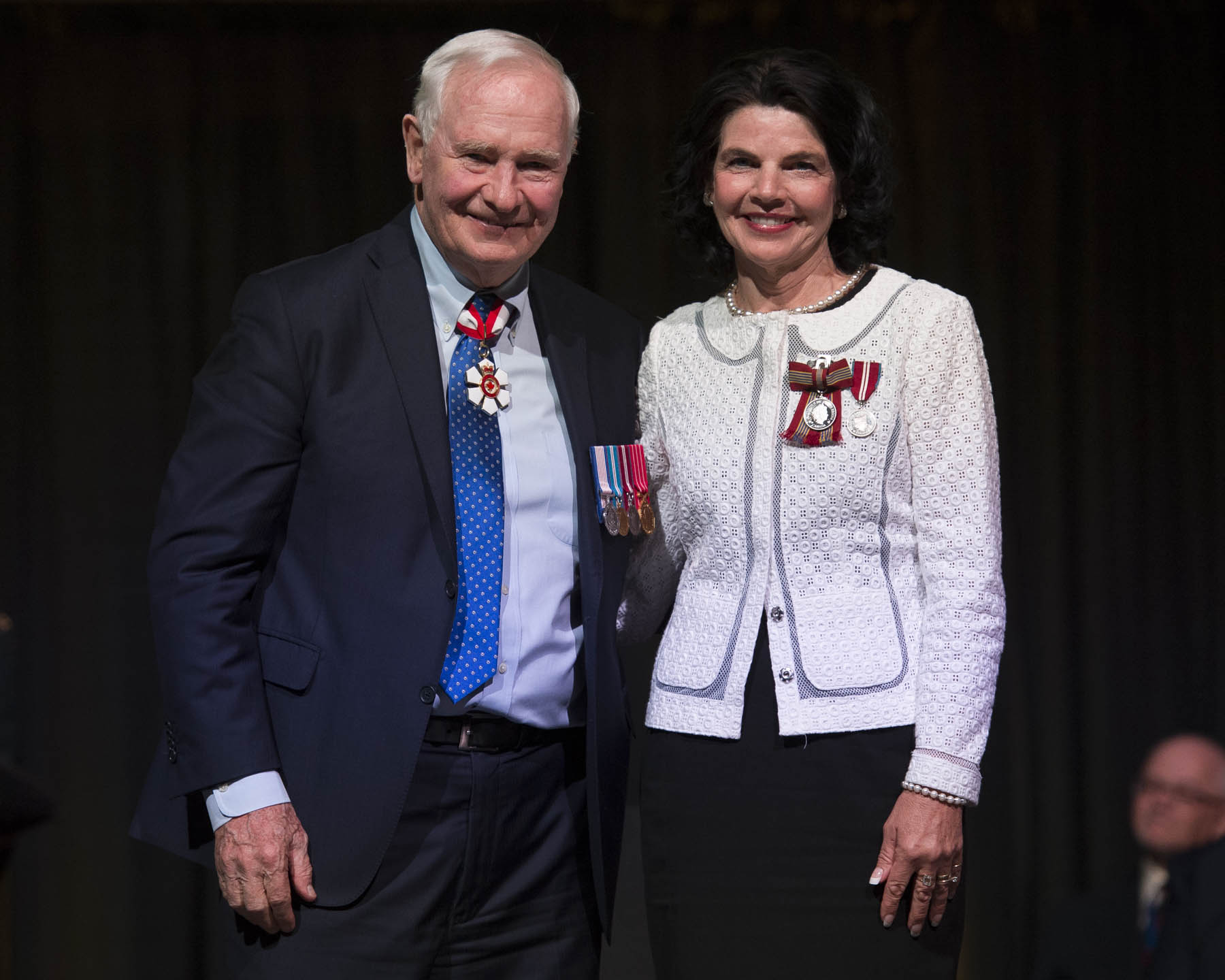 His Excellency presented the Sovereign's Medal for Volunteers to Marie Kenny who has dedicated a large portion of her life to national and provincial programs run by the Federated Women's Institutes of Canada, and even served as its president. By supporting and raising funds for health, education and social initiatives, she has empowered women locally and nationally.