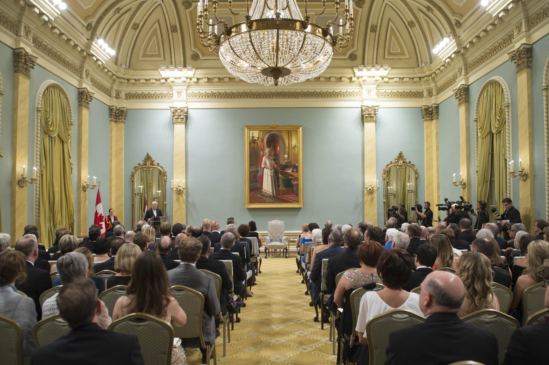 Their Excellencies the Right Honourable David Johnston, Governor General of Canada, and Mrs. Sharon Johnston hosted the presentation ceremony of the Michener Award for outstanding public service in journalism, and the Michener-Deacon Fellowships. The event took place at Rideau Hall on June 14, 2017.