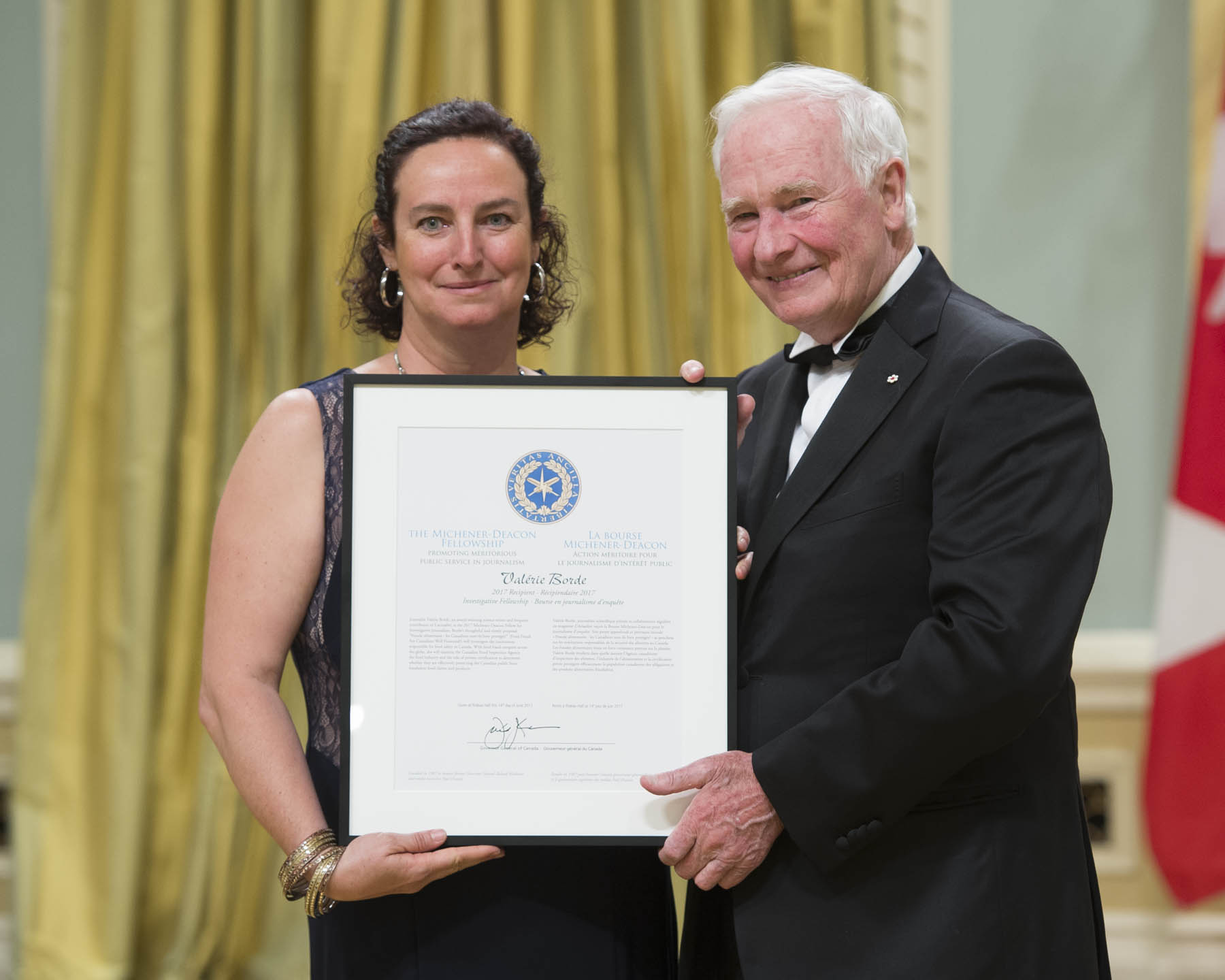 Valérie Borde is the recipient of the 2017 Michener-Deacon Fellowship for Investigative Journalism. This award was created to encourage excellence in investigative print, broadcast and online journalism. The winning fellow is expected to undertake a project that aspires to the criteria of the Michener Award, with emphasis on identifiable benefits for the public good, improvements in public policy, ethical standards, corporate governance or the lives of Canadians.