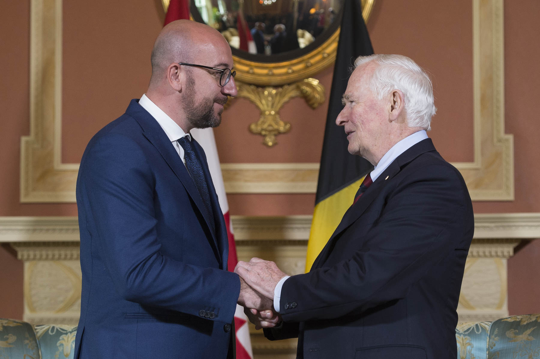 His Excellency the Right Honourable David Johnston, Governor General of Canada, met with His Excellency Charles Michel, Prime Minister of the Kingdom of Belgium, at Rideau Hall.