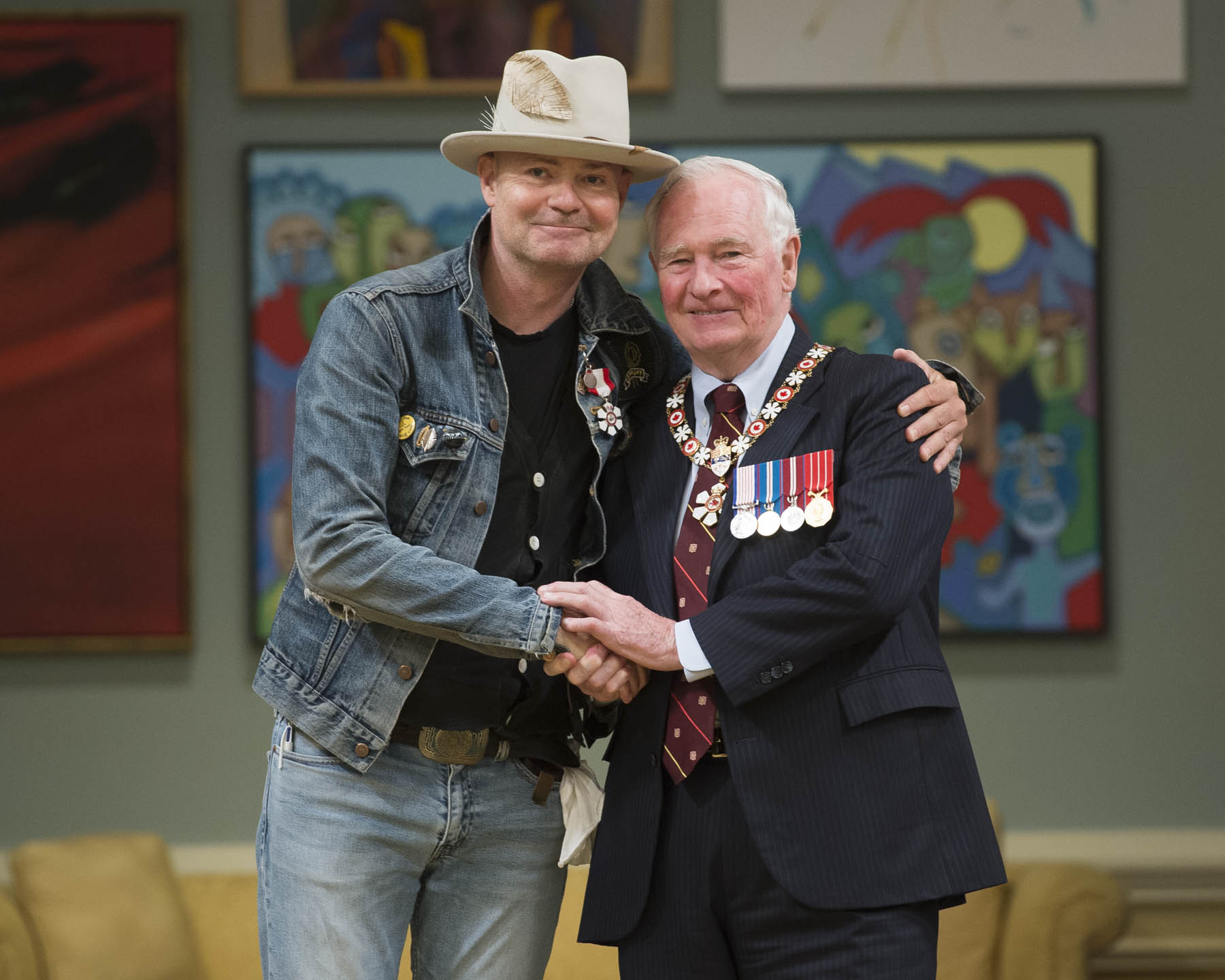 Gord Downie was invested Member of the Order of Canada. For over 30 years, Mr. Downie has been the front man for The Tragically Hip and is considered one of Canada's most beloved artists. He is renowned for his memorable performances, his songwriting and his lyrical references that create a sense of what it is like to love, and live in, this country. His charitable contributions and social activism continue to have a significant impact. He is devoted to promoting dialogue, raising awareness of the history of residential schools and moving the country along the path to reconciliation. The Order of Canada insignia awarded to the other members of  The Tragically Hip (Rob Baker, Johnny Fay, Paul Langlois and Gord Sinclair) will be presented to them at a later date.