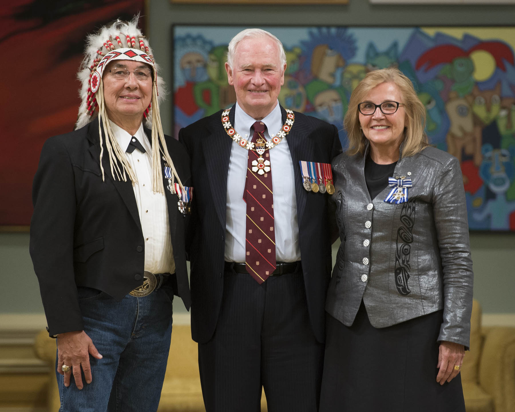 Chief Wilton Littlechild and Marie Wilson received the Meritorious Service Cross (Civil Division). Justice Murray Sinclair, Chief Wilton Littlechild and Marie Wilson shouldered the responsibility for the Truth and Reconciliation Commission of Canada with fortitude, compassion and perseverance. Over six years, they led the examination of the Indian Residential School system, combing through myriad documents and witnessing the courage of survivors who shared their stories. Their final report invites all Canadians to confront the inequities of the past, and calls on governments and individuals alike to move forward, with greater understanding, towards reconciliation. The Meritorious Service Cross awarded to the Honourable Murray Sinclair will be presented to him at a later date.