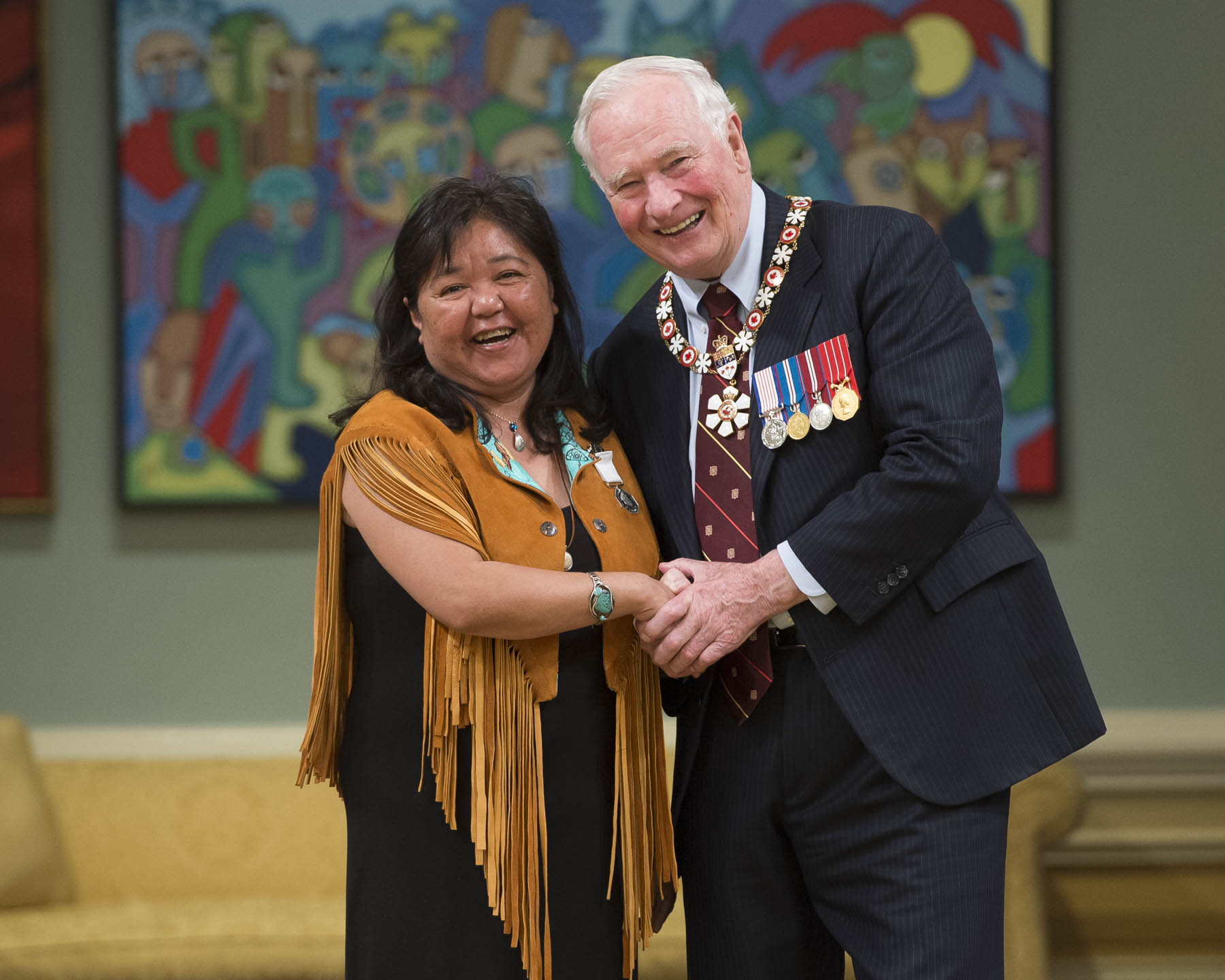 Darlene Scurvey received the Polar Medal. As an early childhood educator at the Duska'a Head Start Family Learning Centre, Ms. Scurvey actively promotes the preservation of traditional language and culture. With the assistance of elders, she provides preschool-age children with a range of culturally relevant learning experiences that incorporate social interaction and language instruction.