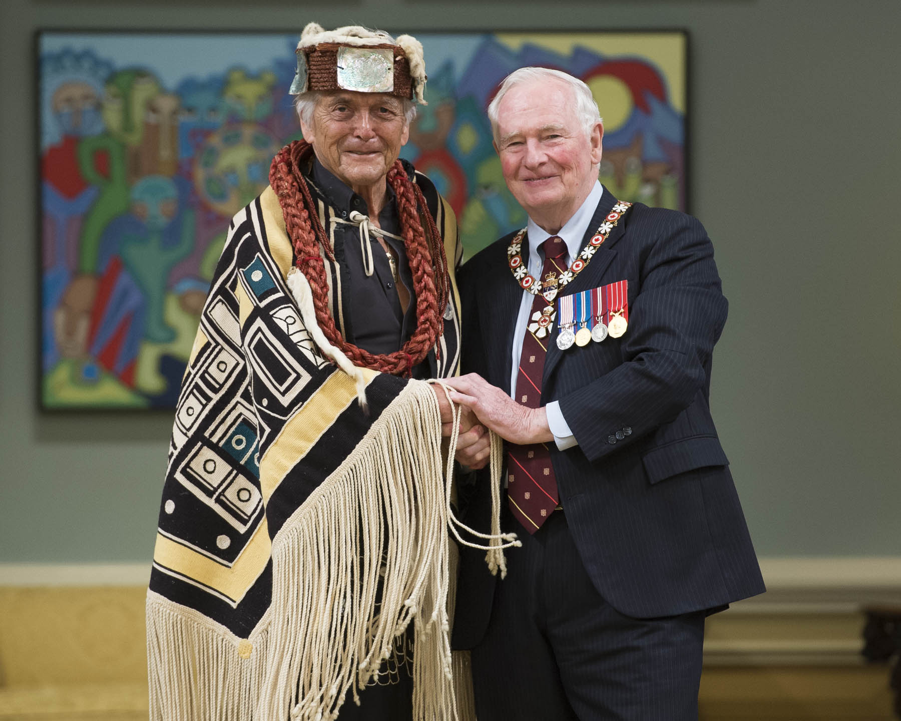 Chief Bill Cranmer received the Sovereign's Medal for Volunteers. Dedicated to the preservation of Indigenous culture, Chief Cranmer was instrumental in repatriating potlatch artifacts that were confiscated by the Canadian government in the 1920s, and in founding two cultural centres in British Columbia to preserve and exhibit these sacred items.