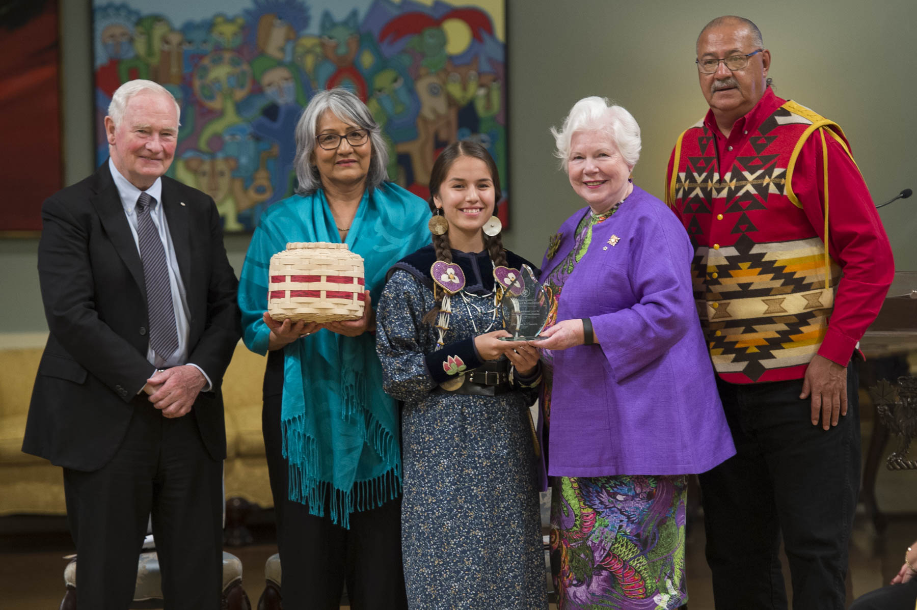 His Excellency accompanied by two Indian Residential School survivors, Ms. Terri Brown and 