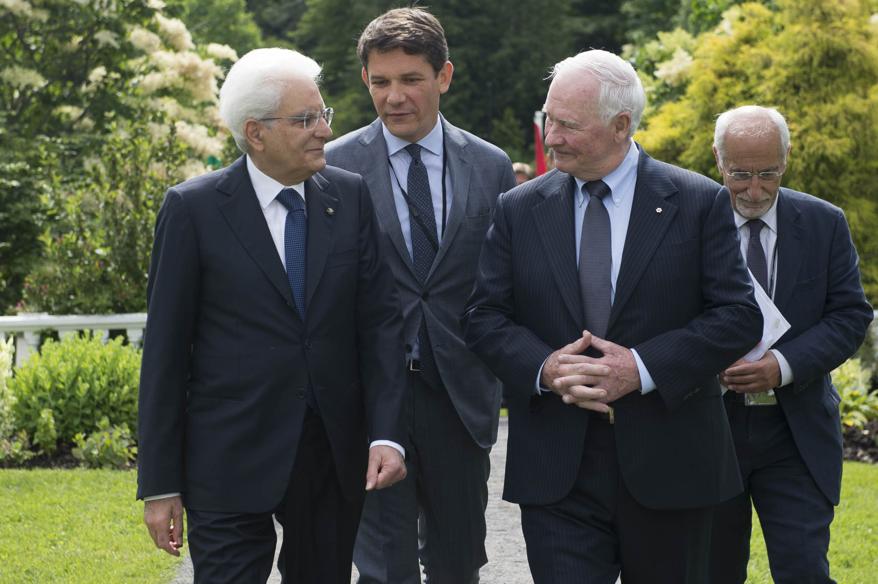 The Governor General and the President enjoying a walk in the gardens as they make their way to the residence.