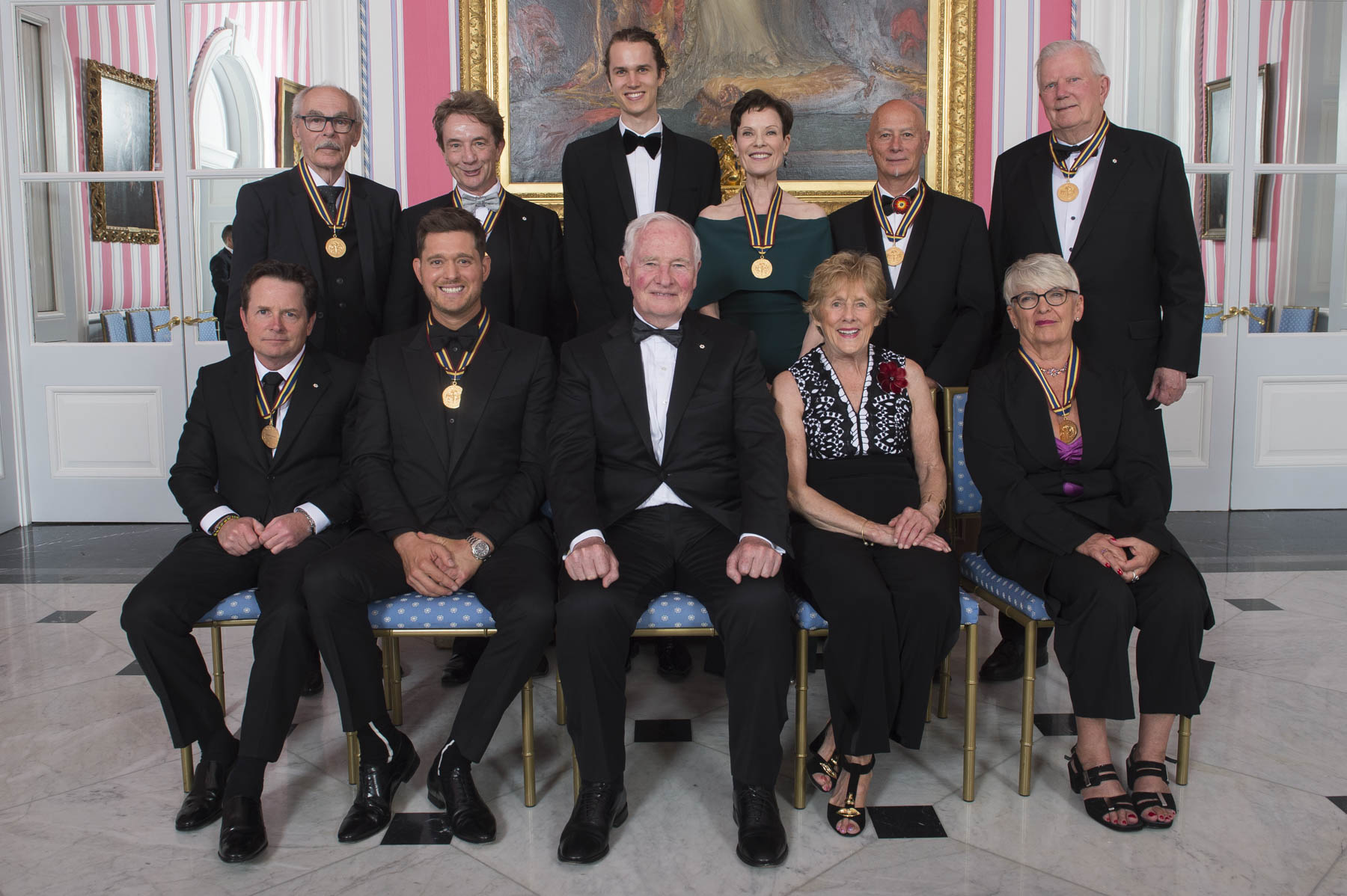 Their Excellencies posed for a picture in the Tent room with the Governor General's Performing Arts Awards Laureates.