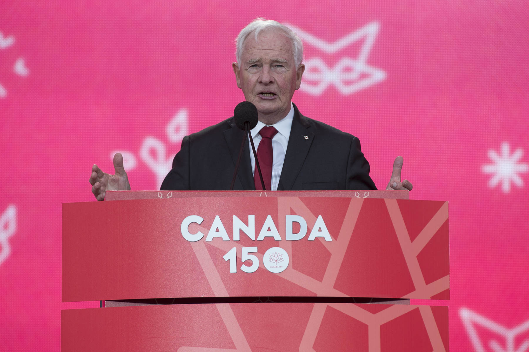 """Happy 150th birthday, Canada! You're looking better than ever! We're gathering on Algonquin traditional territory, the site of our Parliament, and we can truly feel the spirit of this land today. That spirit—of inclusiveness and of the desire to do things better—is the spirit behind Confederation, achieved 150 years ago"" said the Governor General."