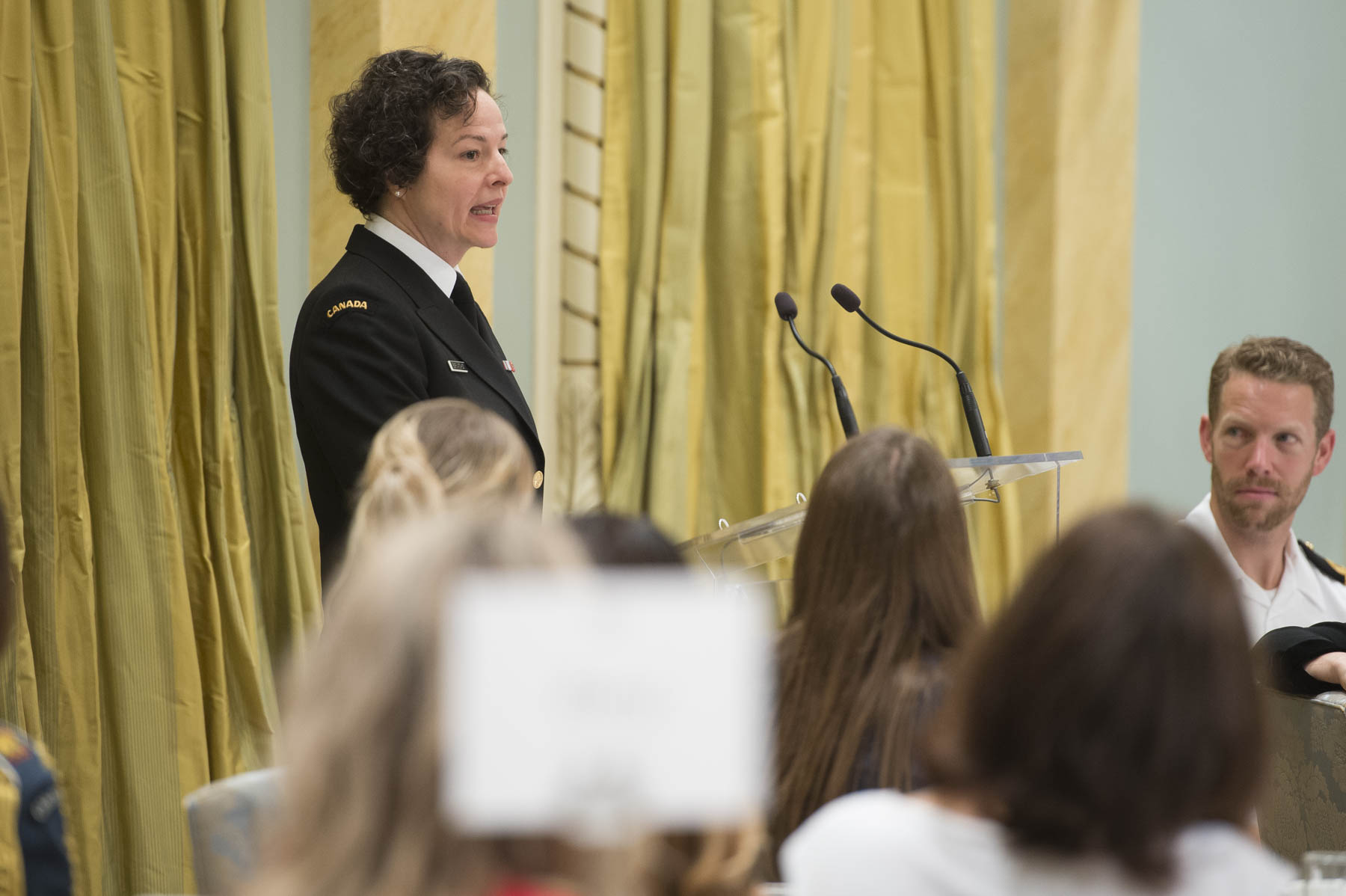Commodore Geneviève Bernatchez, the first woman Judge Advocate General, discussed the mental health challenges and everyday stressors she faced while climbing the ranks in the legal system and working on sexual misconduct cases.