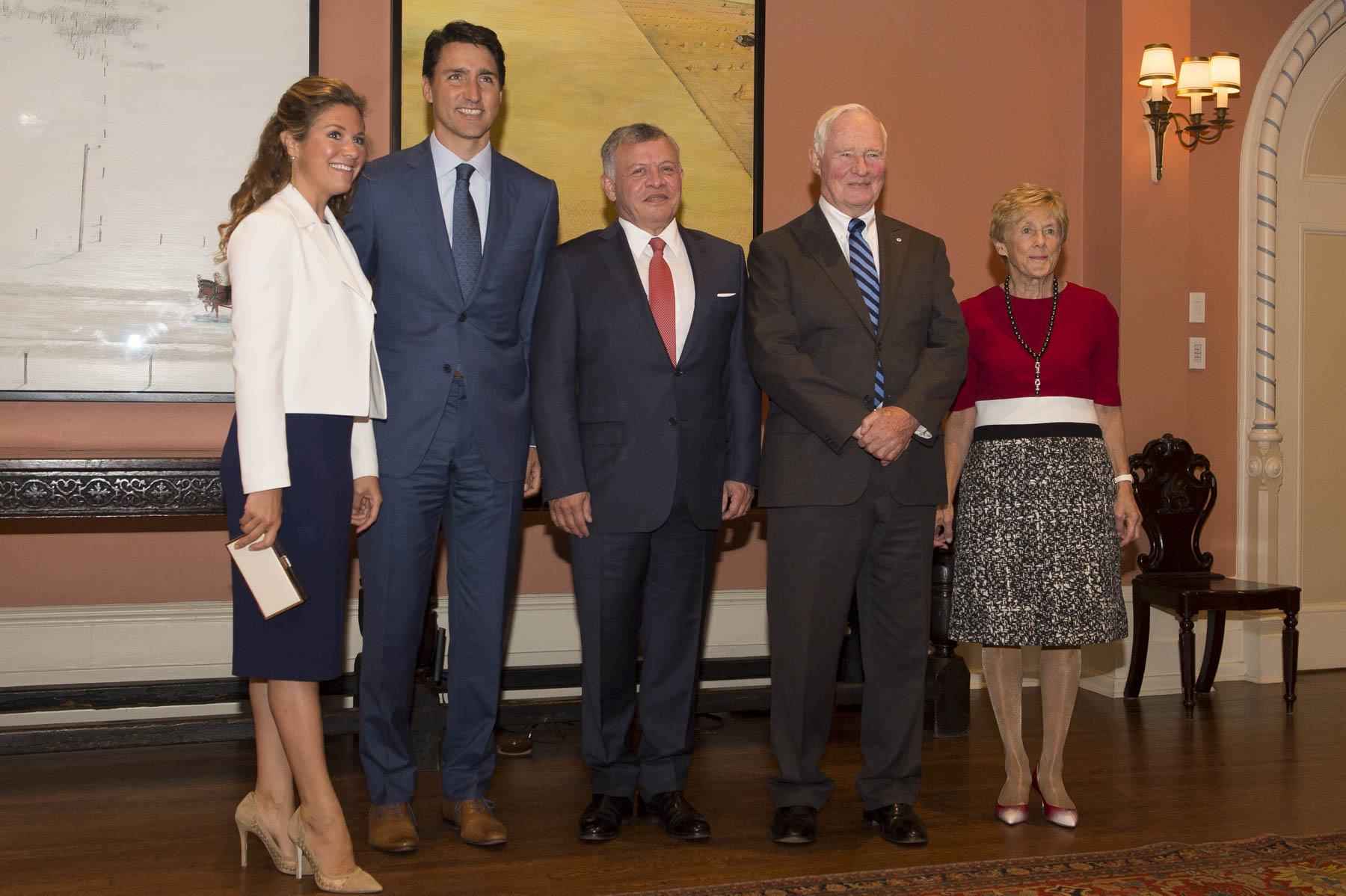 On August 29, 2017, Their Excellencies hosted a State luncheon at Rideau Hall in honour of His Majesty's visit to Canada. In attendance were the Right Honourable Justin Trudeau, Prime Minister of Canada, and Mrs. Sophie Grégroire-Trudeau.