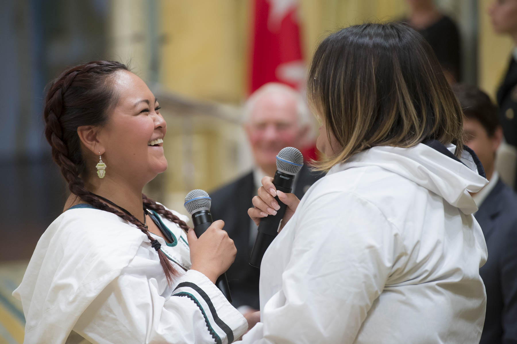 The ceremony ended with Inuit throat singers Tamara Takpannie and Janice Oolayou.
