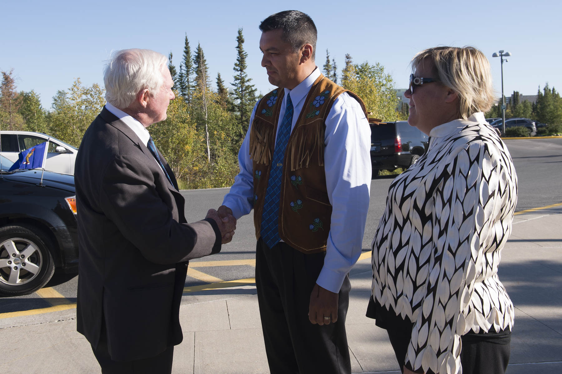 Later on, Their Excellencies went to the Legislative Assembly for a community reception. Upon arrival they were greeted by Jackson Lafferty, Speaker of the Legislative Assembly and his spouse, Diane.