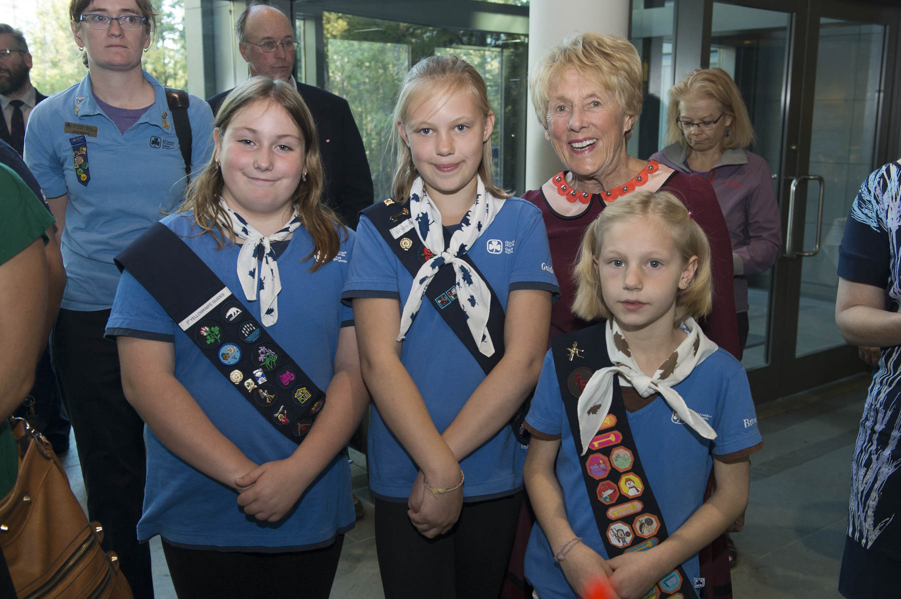 During the reception Mrs. Johnston made friends with a group of Girl Guides.