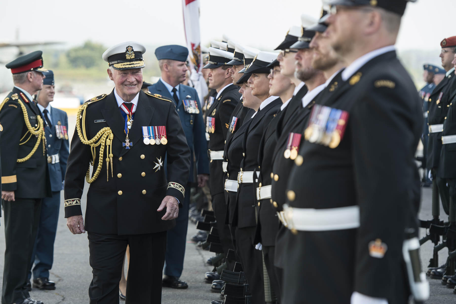 During the special ceremony, His Excellency inspected the Guard of Honour for the last time as Commander-in-Chief of Canada.
