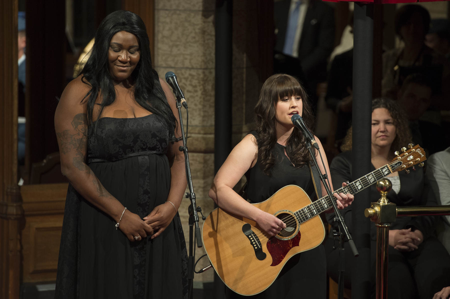 "Ms. Joannie Benoit and Ms. Mélissa Bédard performed Leonard Cohen's song ""Hallelujah"" during the ceremony."