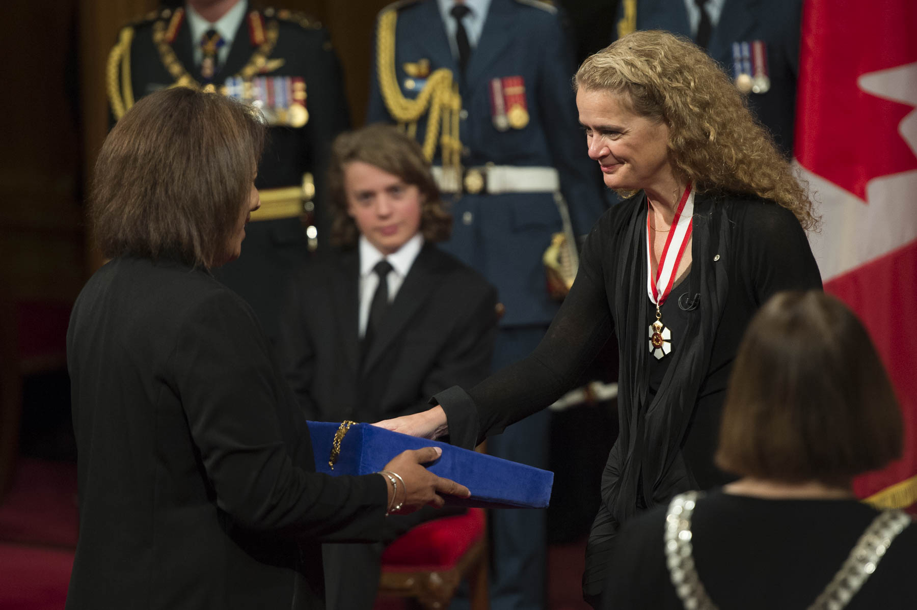 During the ceremony, Her Excellency was presented with four collars: Chancellor of the Order of Canada, Chancellor of the Order of Military Merit, Chancellor of the Order of Merit of the Police Forces, and head of the Canadian Heraldic Authority.